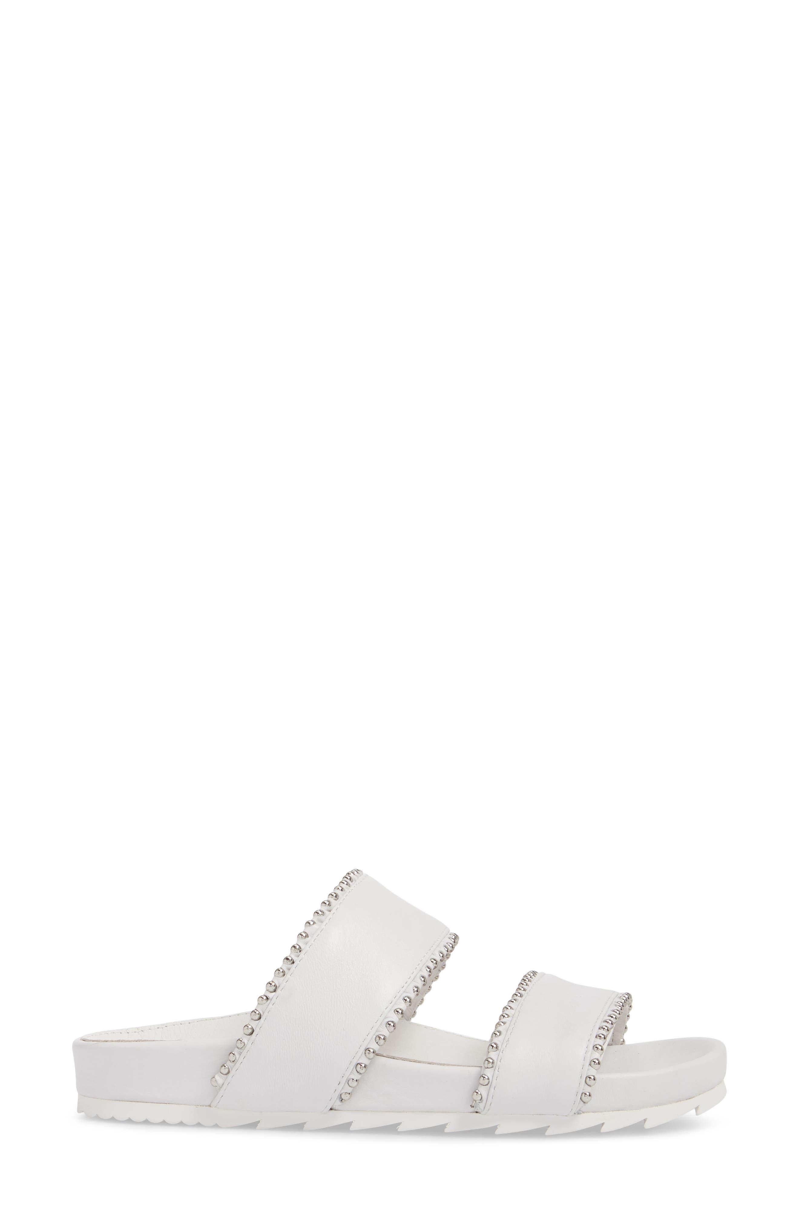 Emmie Bead Chain Slide Sandal,                             Alternate thumbnail 3, color,                             White Leather