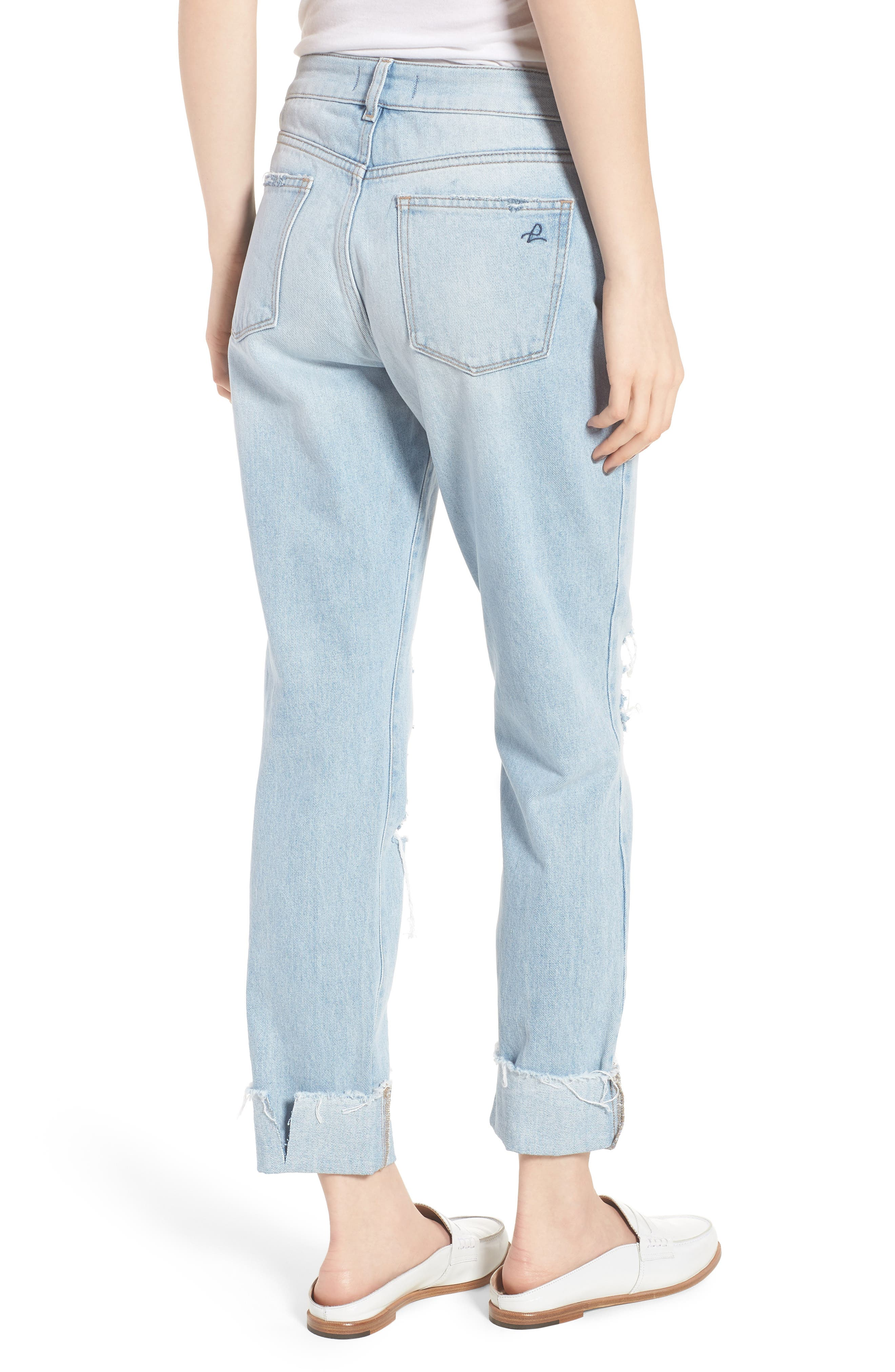 Stevie Ripped Crop Slim Boyfriend Jeans,                             Alternate thumbnail 2, color,                             Drift