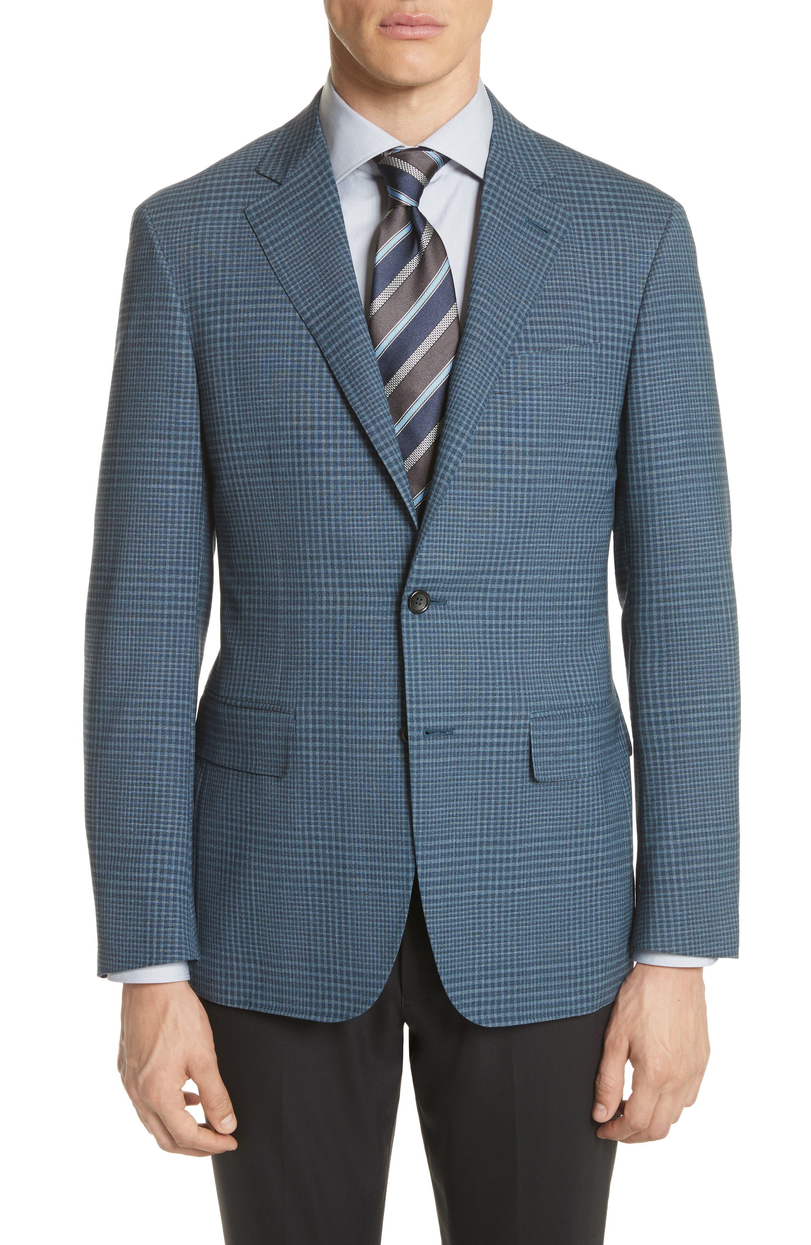 Kei Classic Fit Plaid Wool Sport Coat,                             Main thumbnail 1, color,                             Navy