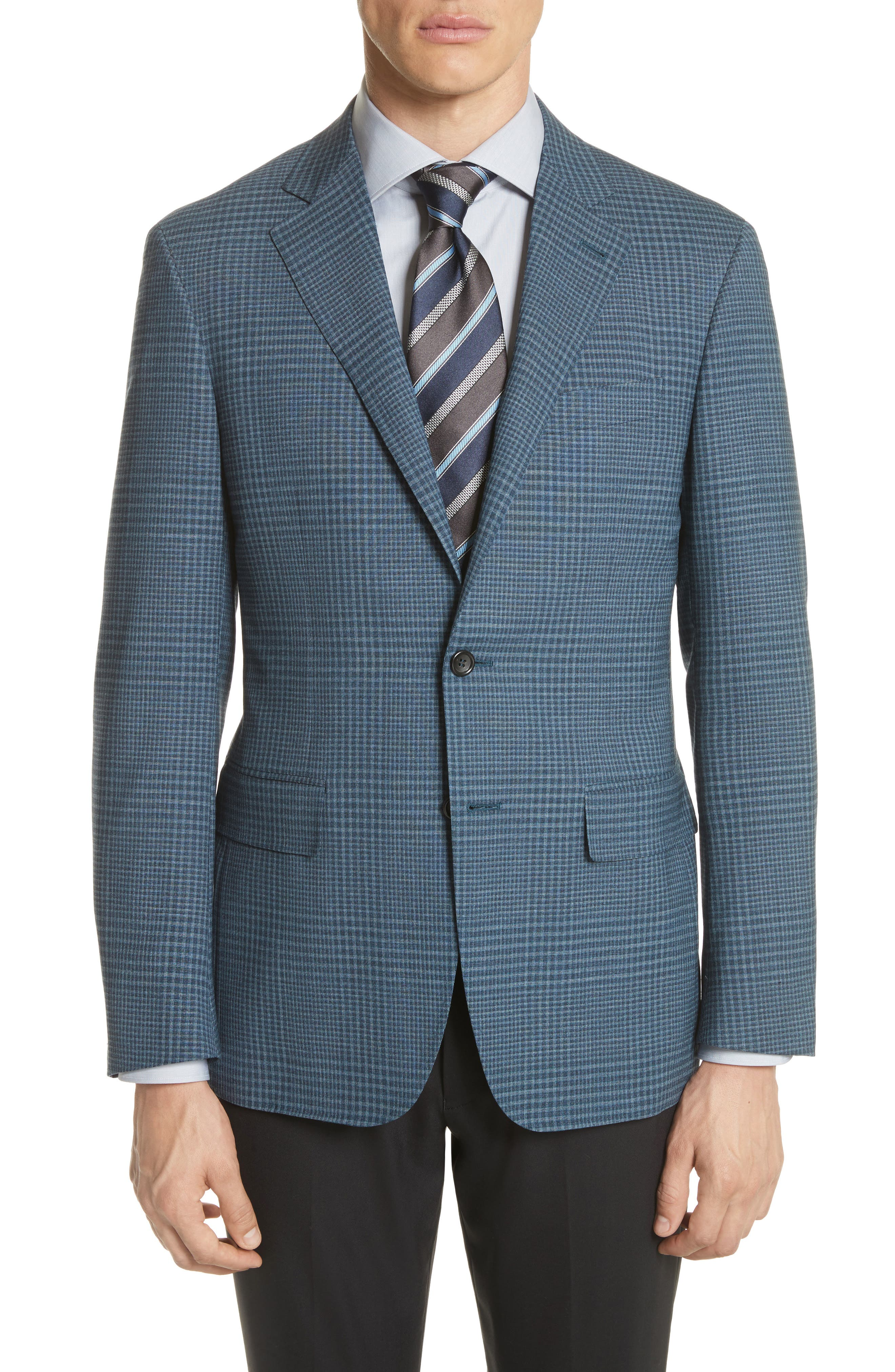 Kei Classic Fit Plaid Wool Sport Coat,                         Main,                         color, Navy