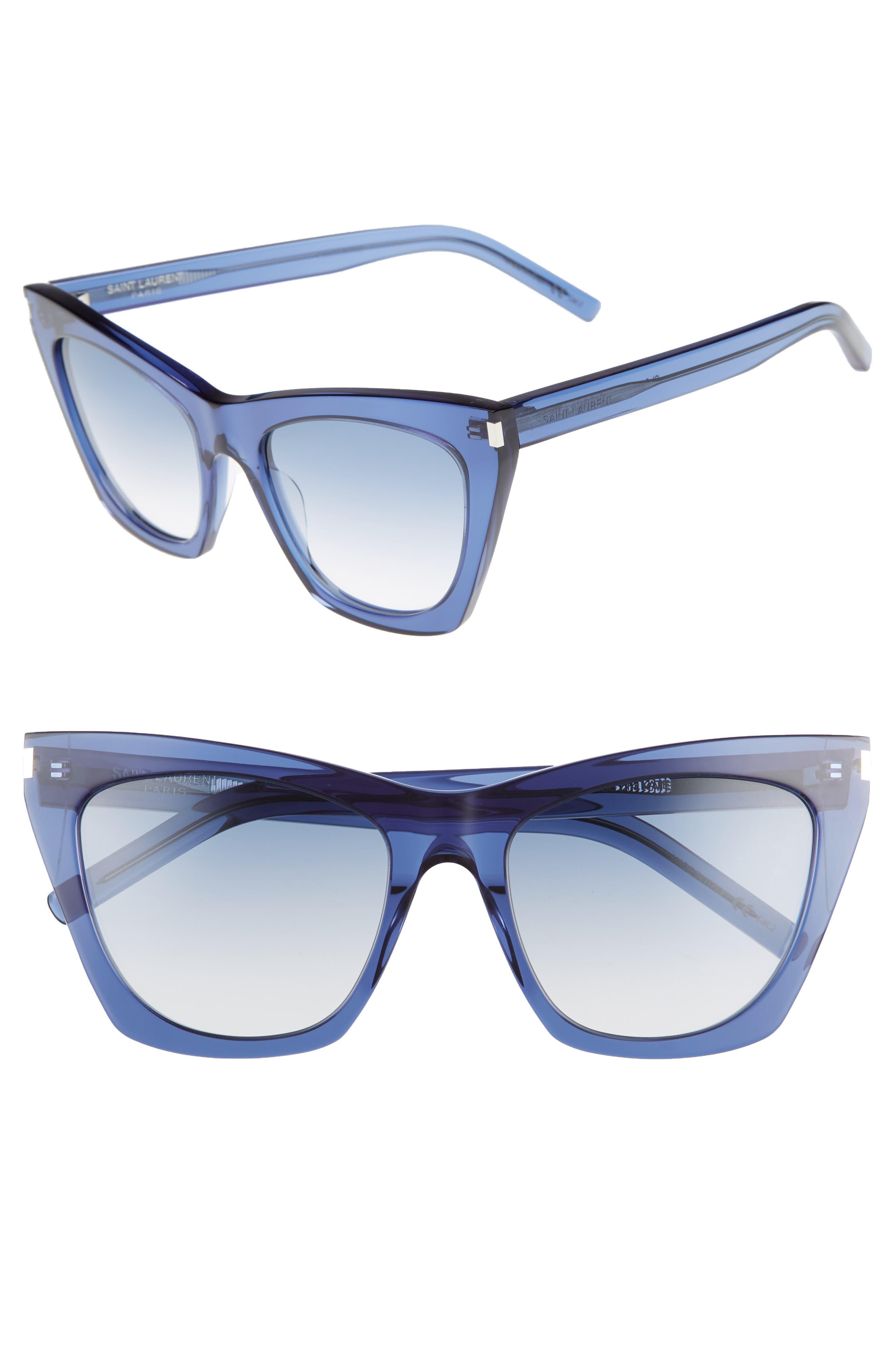 Kate 55mm Cat Eye Sunglasses,                             Main thumbnail 1, color,                             Blue