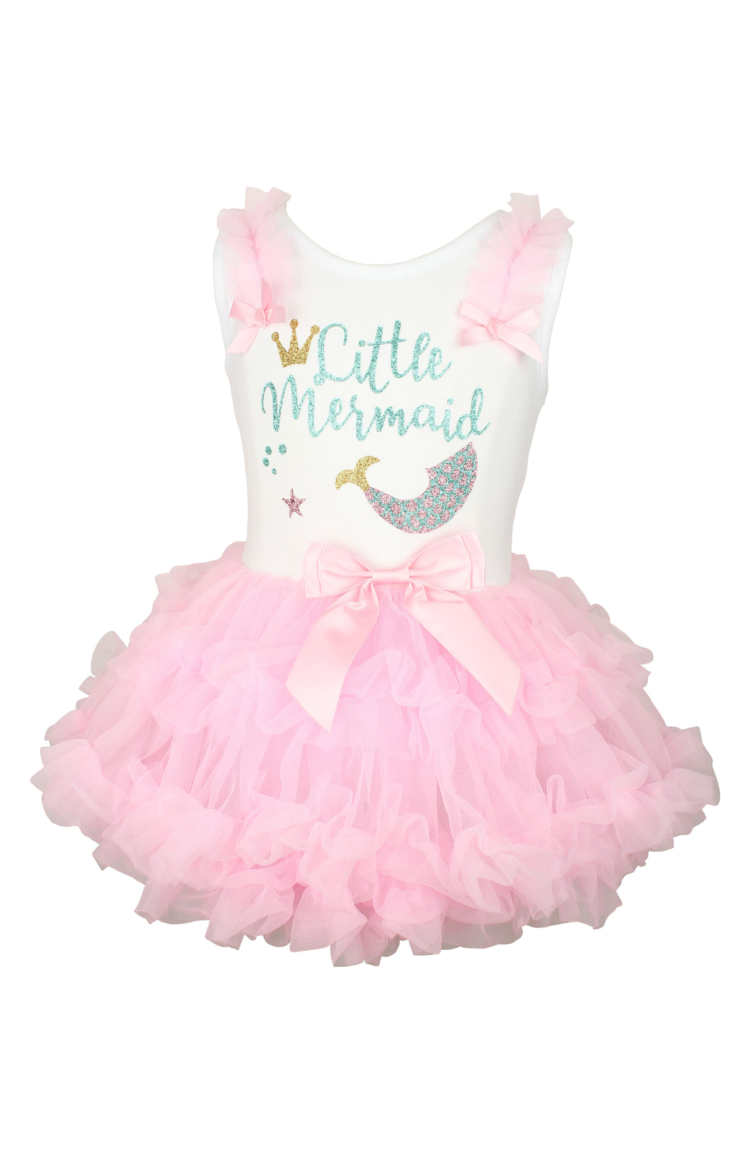 Little Mermaid Tutu Dress,                         Main,                         color, Pink