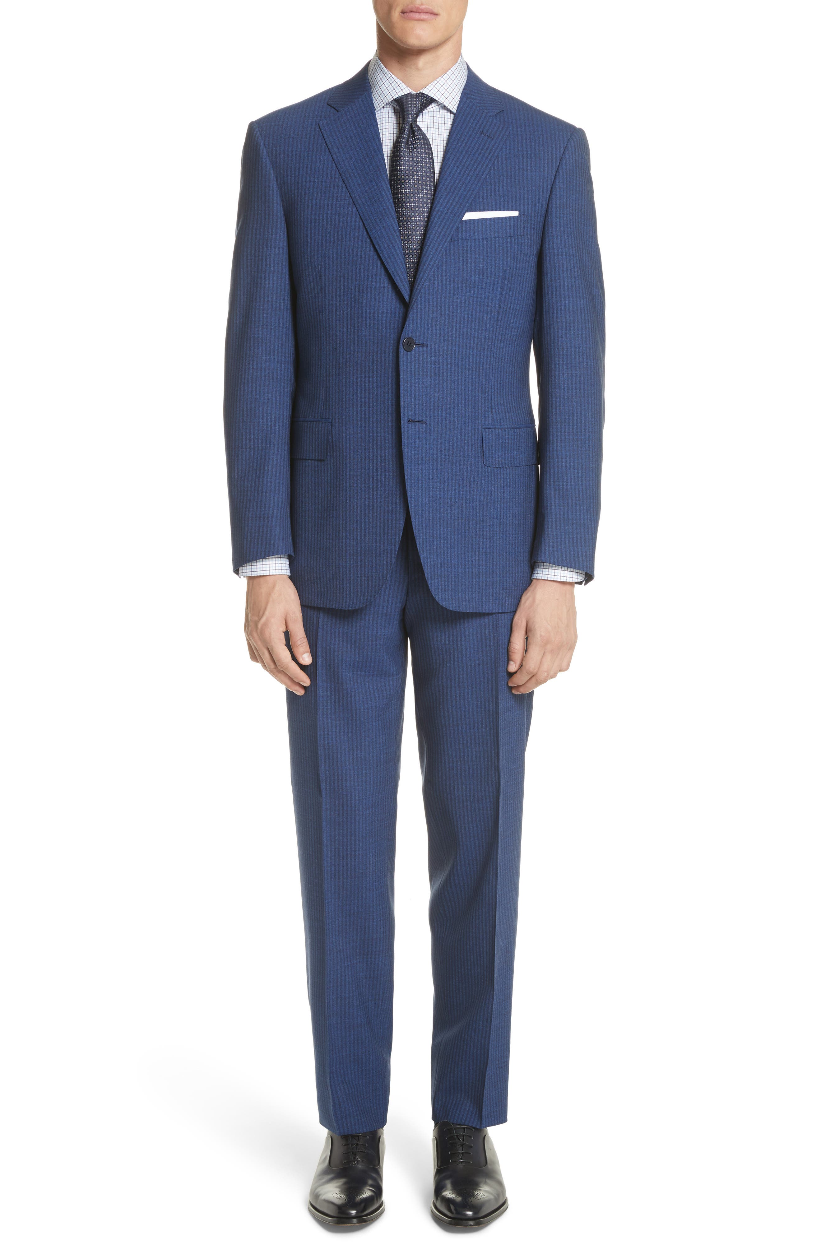 Classic Fit Shadow Stripe Wool Suit,                         Main,                         color, Navy
