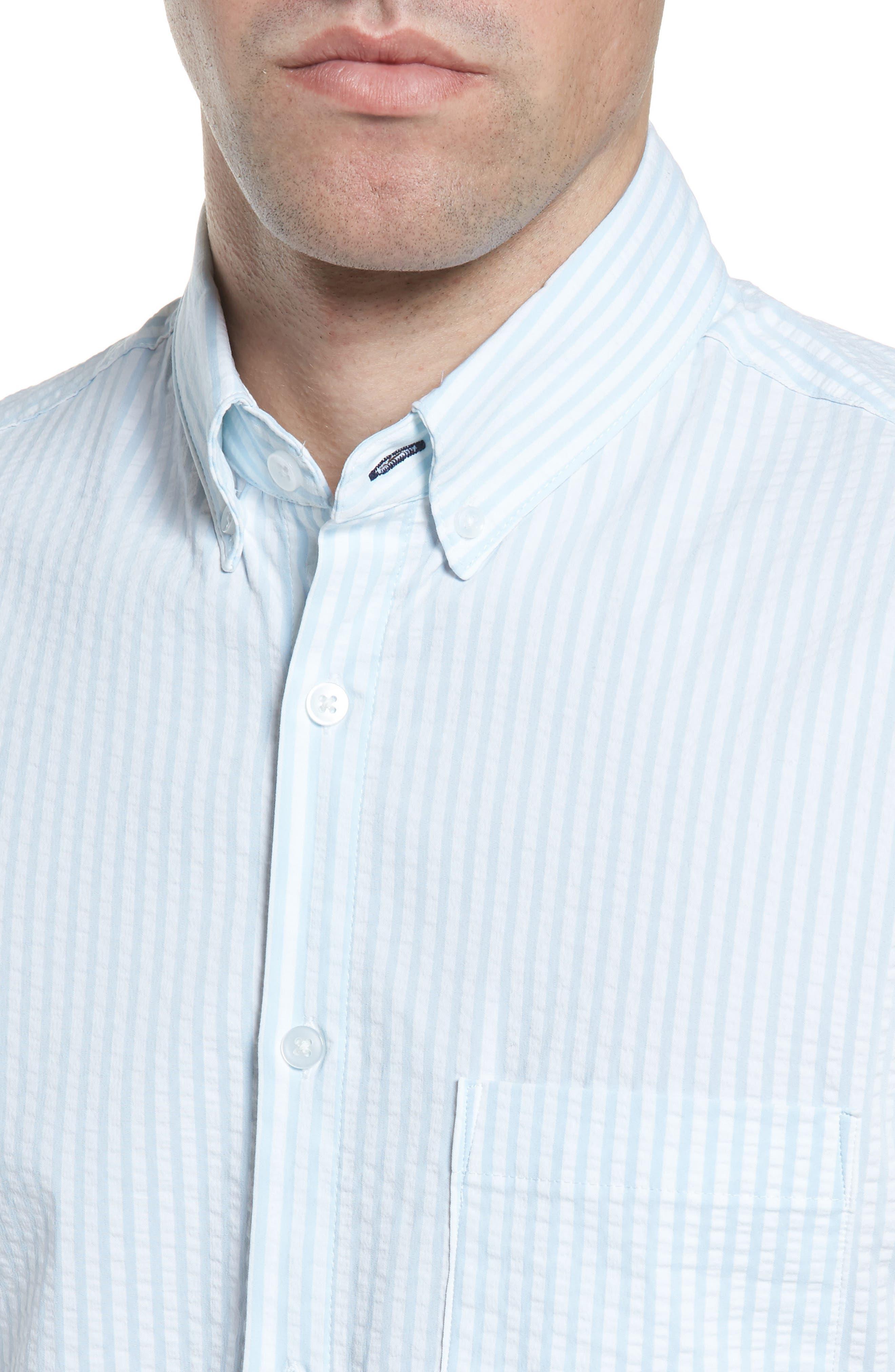 Hartley Seersucker Stripe Performance Sport Shirt,                             Alternate thumbnail 2, color,                             Blue