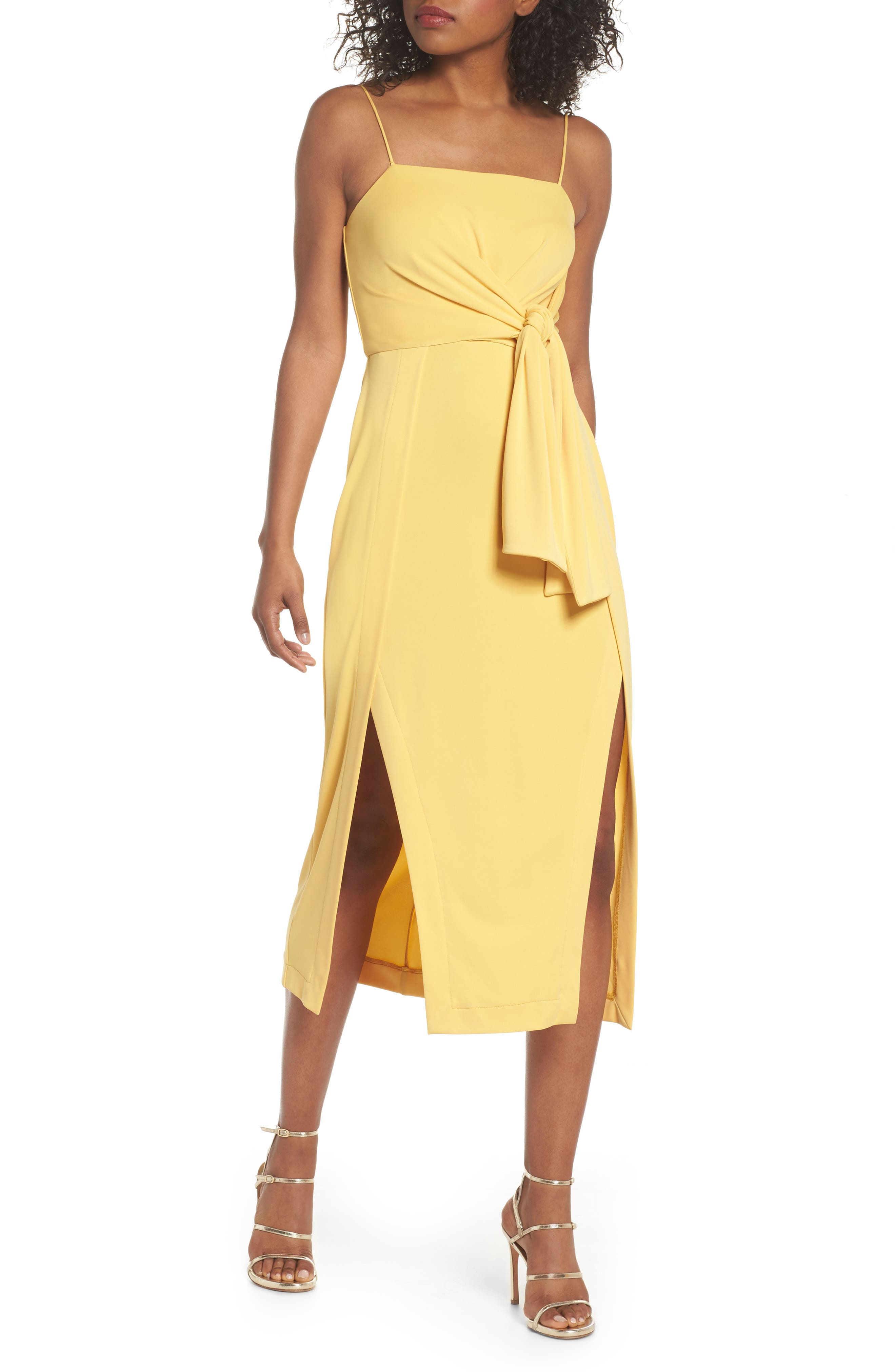 Recollect Slinky Side Tie Midi Dress,                         Main,                         color, Honey