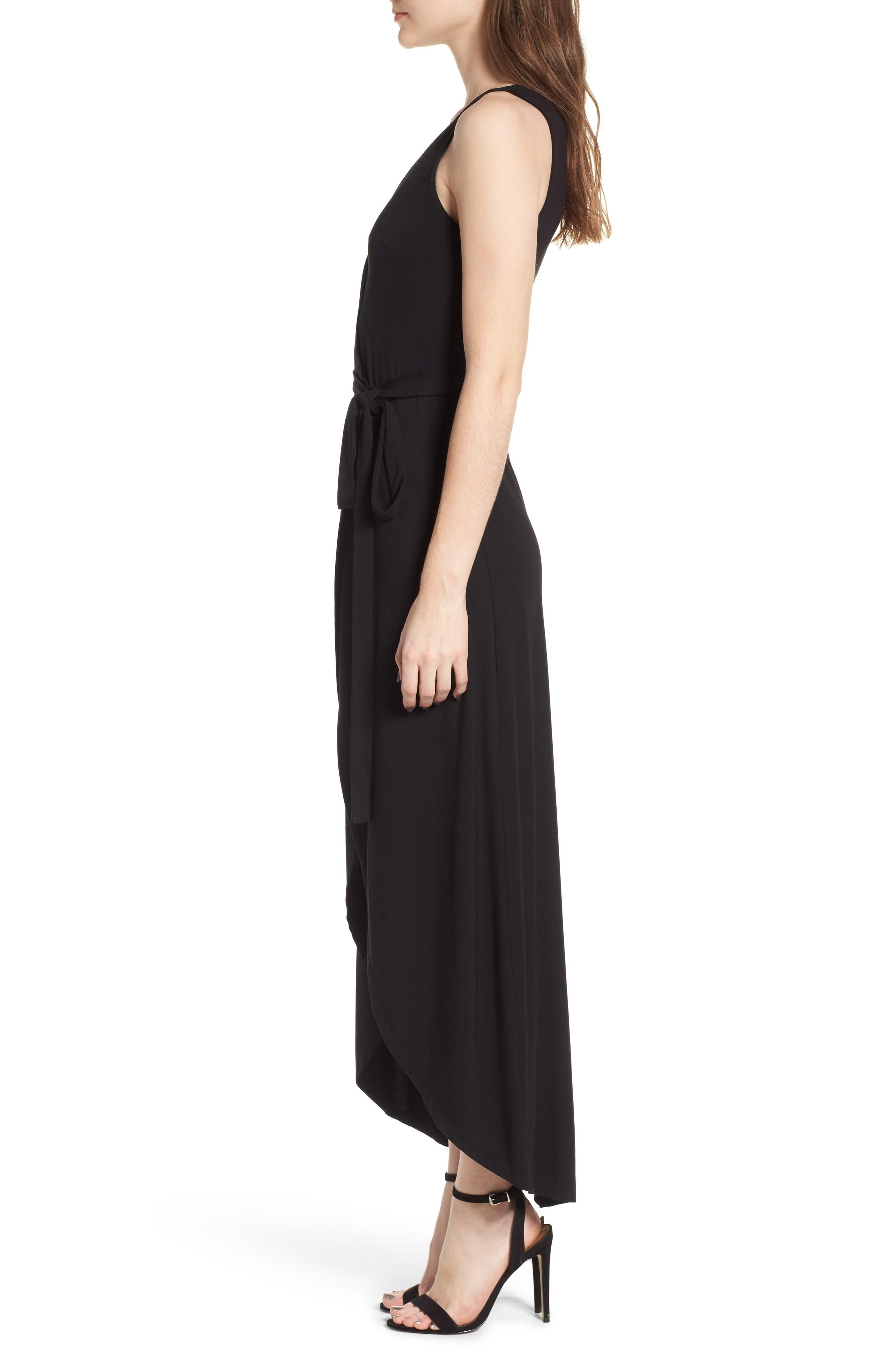 Knit Maxi Dress,                             Alternate thumbnail 3, color,                             Black