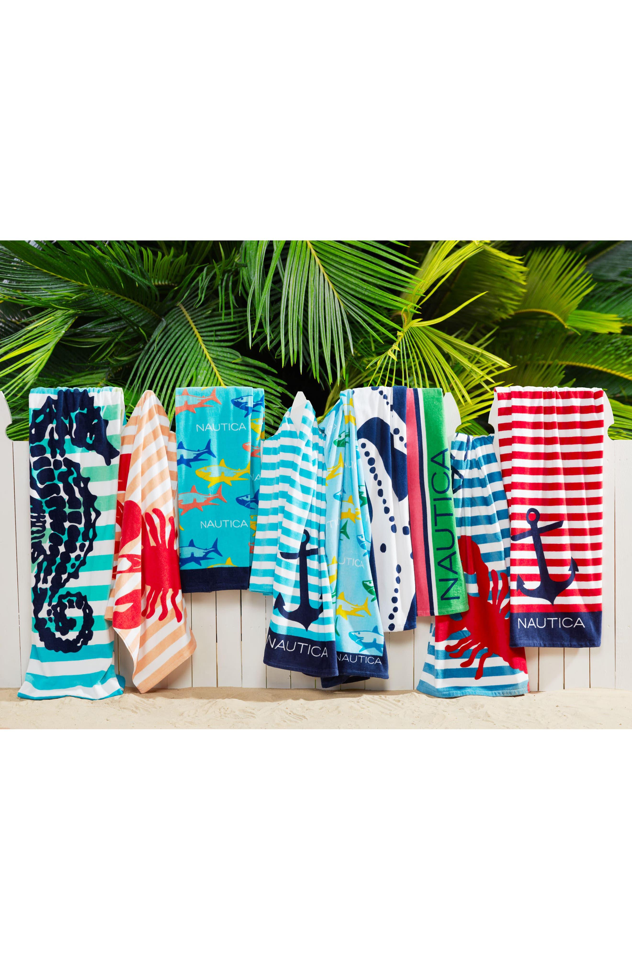 Seahorse Stripe Set of 2 Beach Towels,                             Alternate thumbnail 2, color,                             Blue Multi