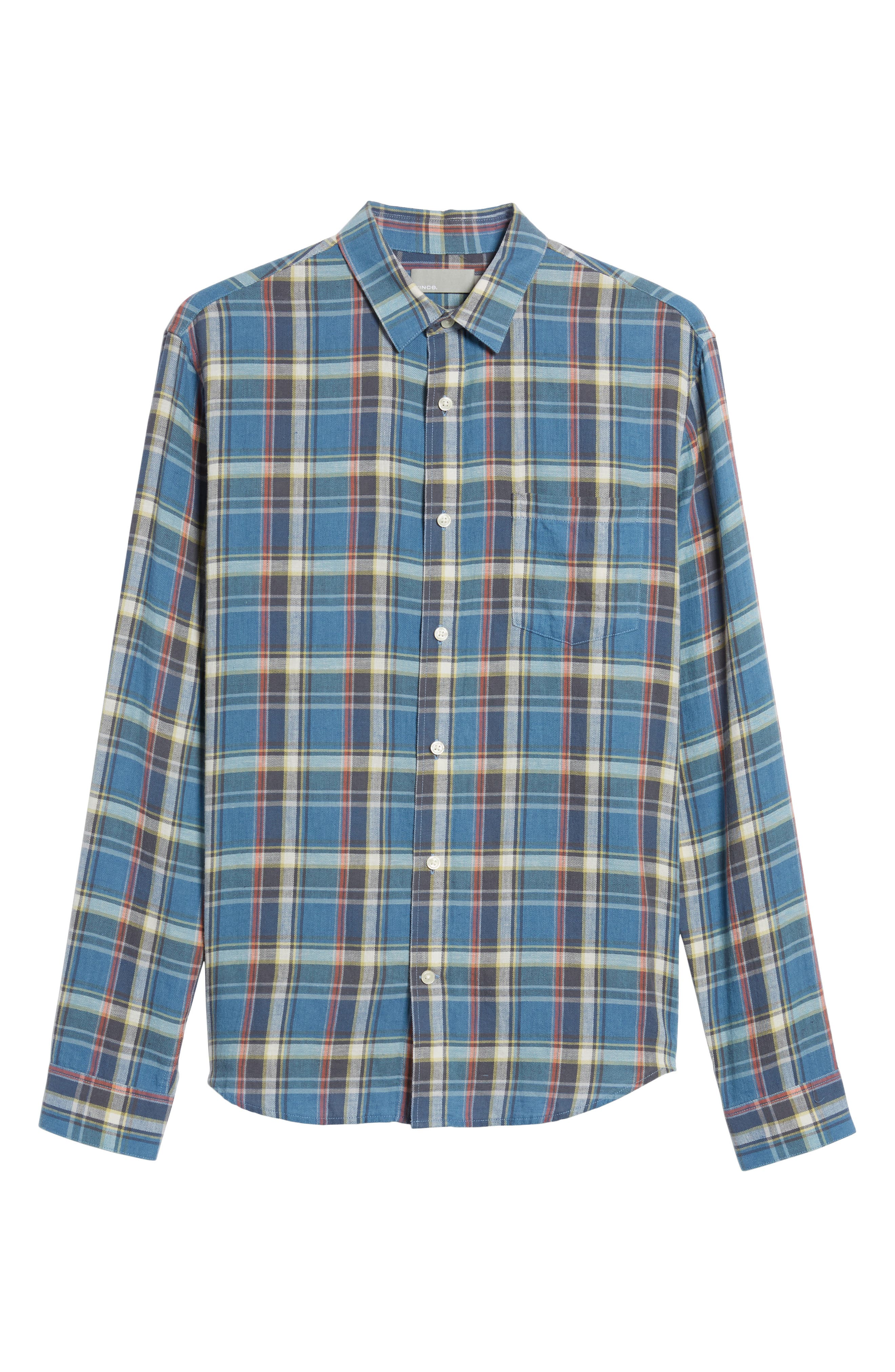 Slim Fit Plaid Sport Shirt,                             Alternate thumbnail 6, color,                             Light Blue