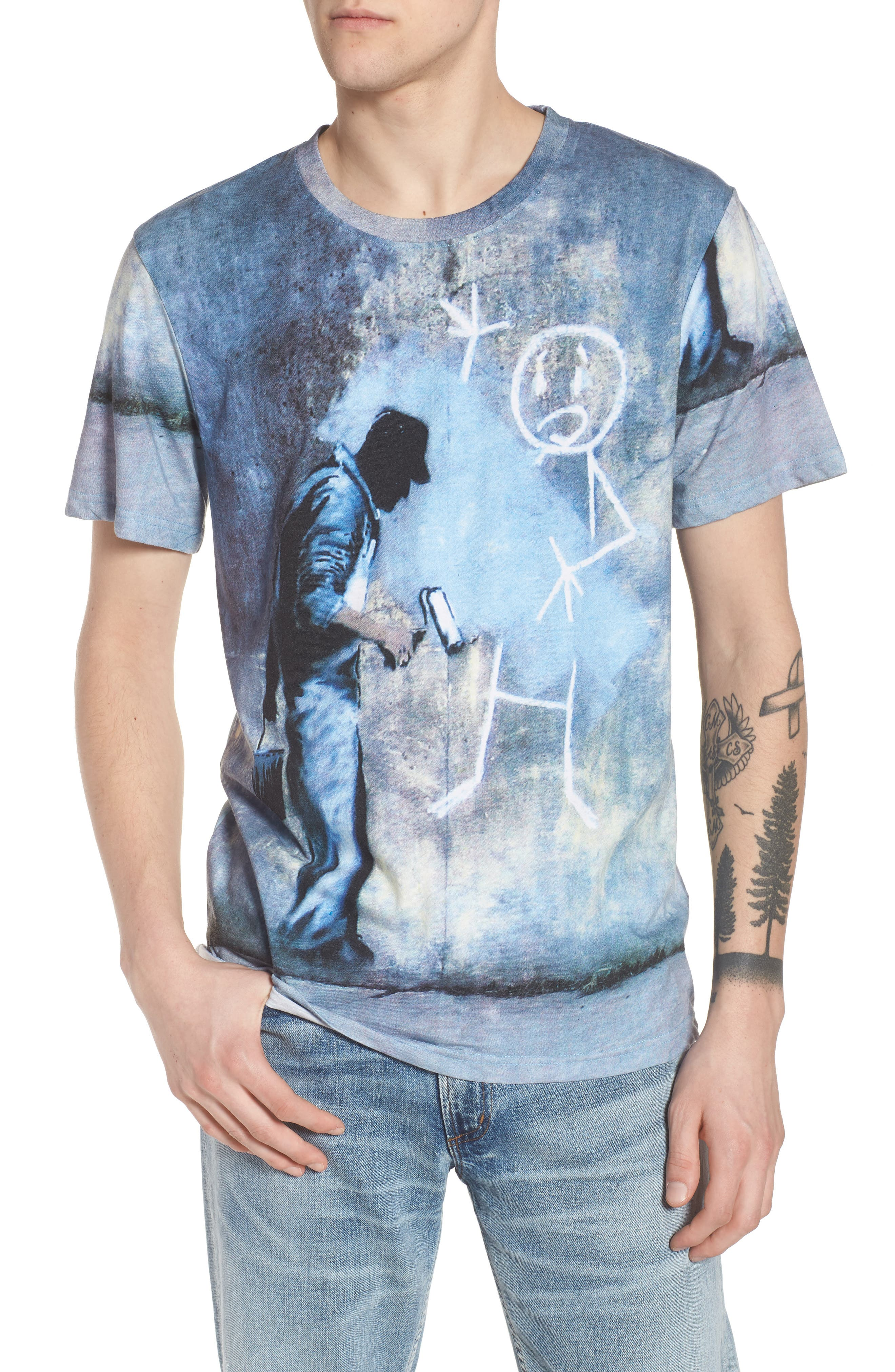 Grey Ghost T-Shirt,                             Main thumbnail 1, color,                             Blue/White