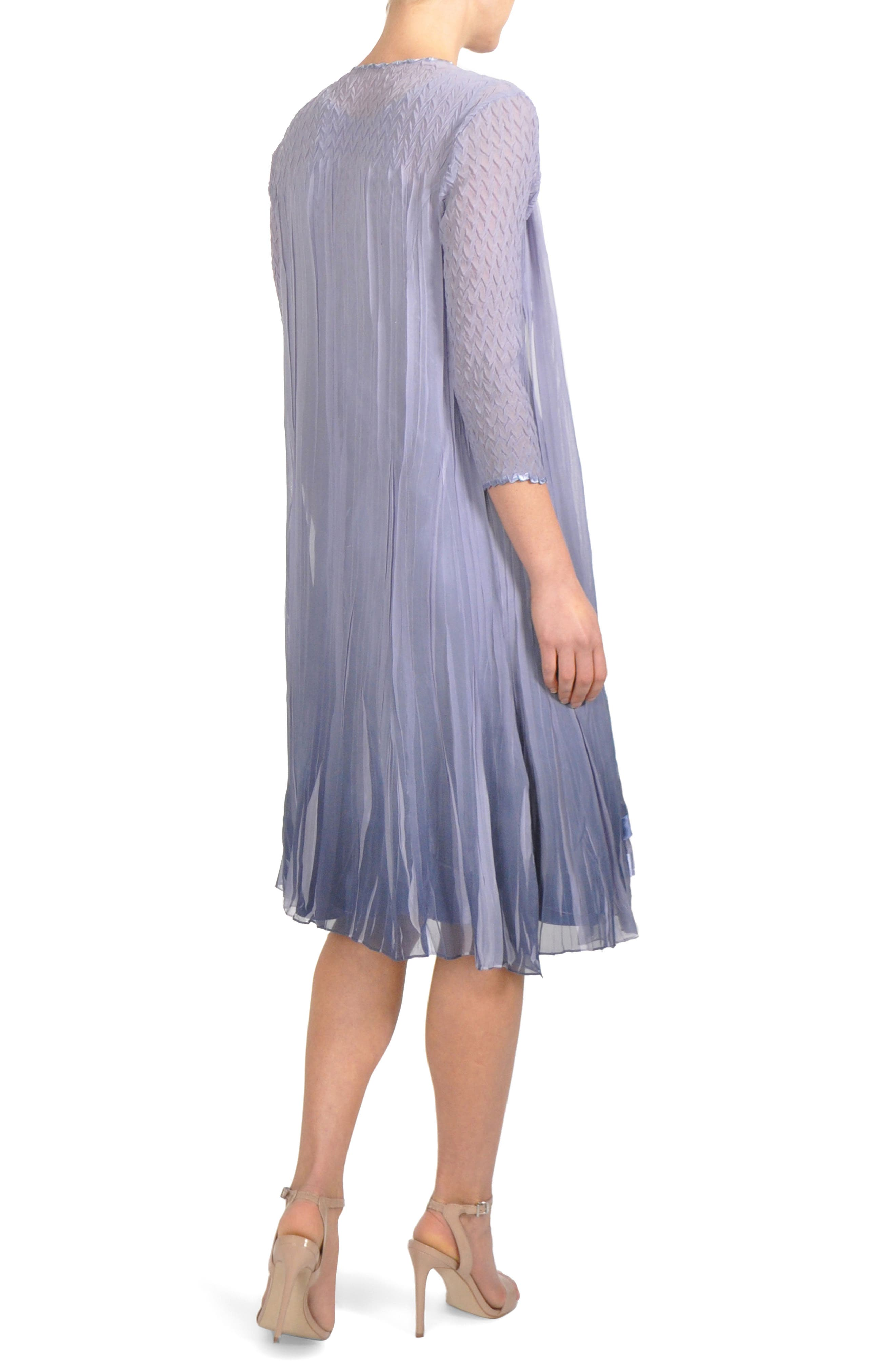 Charmeuse & Chiffon Midi Dress with Jacket,                             Alternate thumbnail 2, color,                             Lavendar Grey Blue Ombre