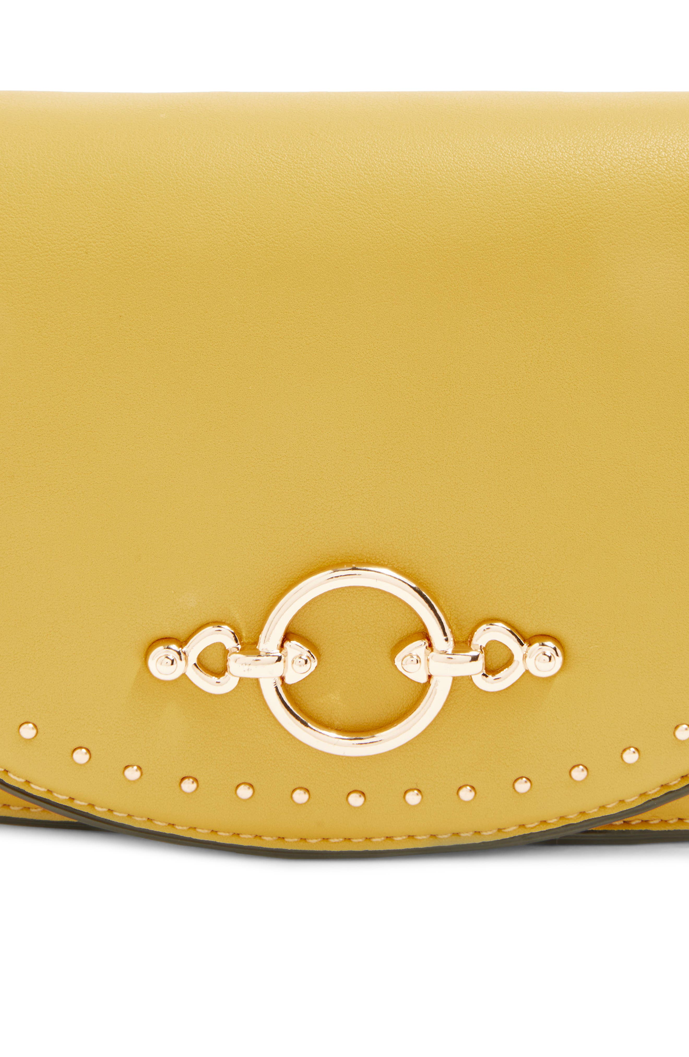 Osen Stud Circle Crossbody Bag,                             Alternate thumbnail 4, color,                             Yellow
