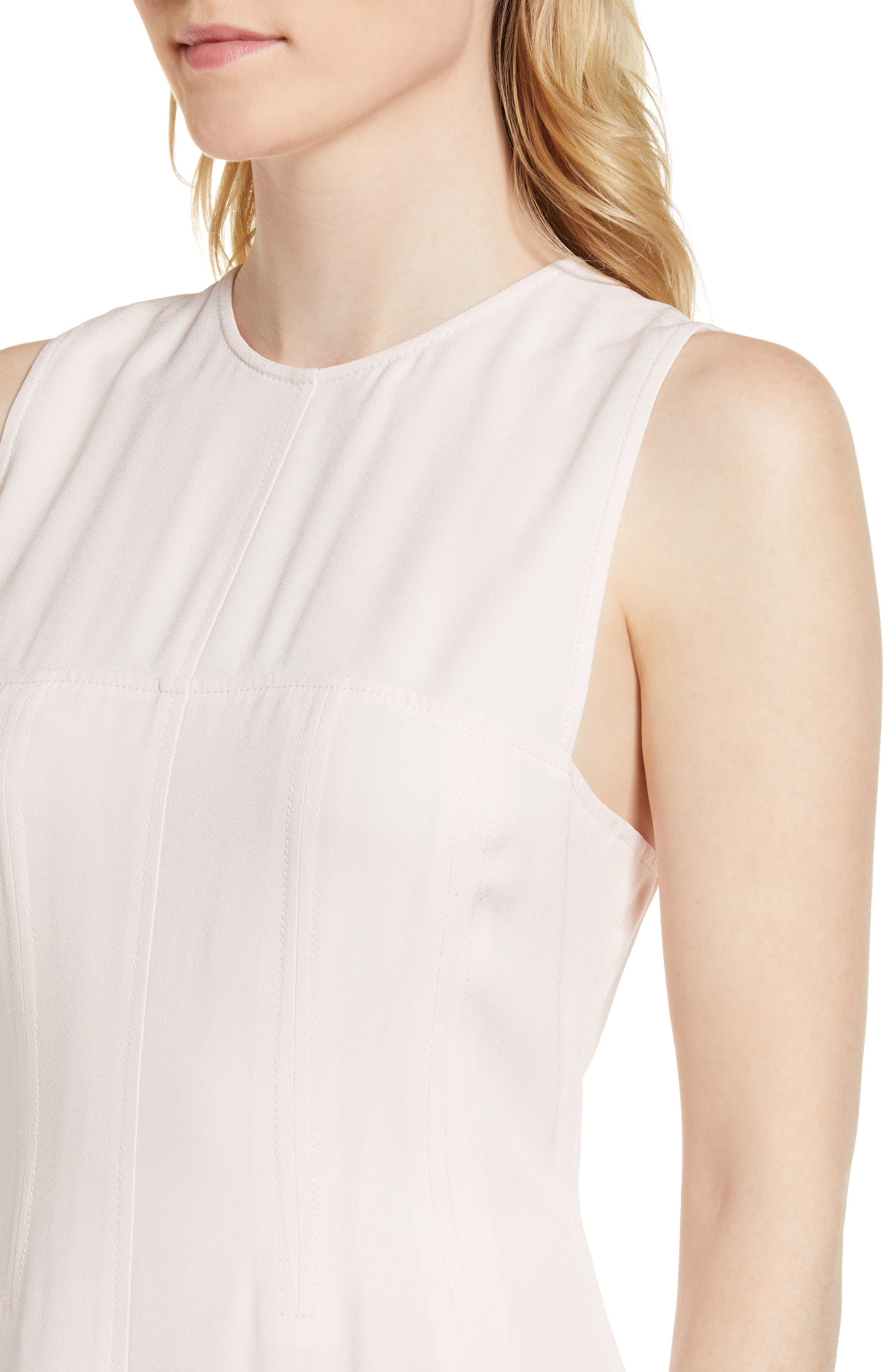 Corset Detail Midi Dress,                             Alternate thumbnail 4, color,                             Pink Peony Bud