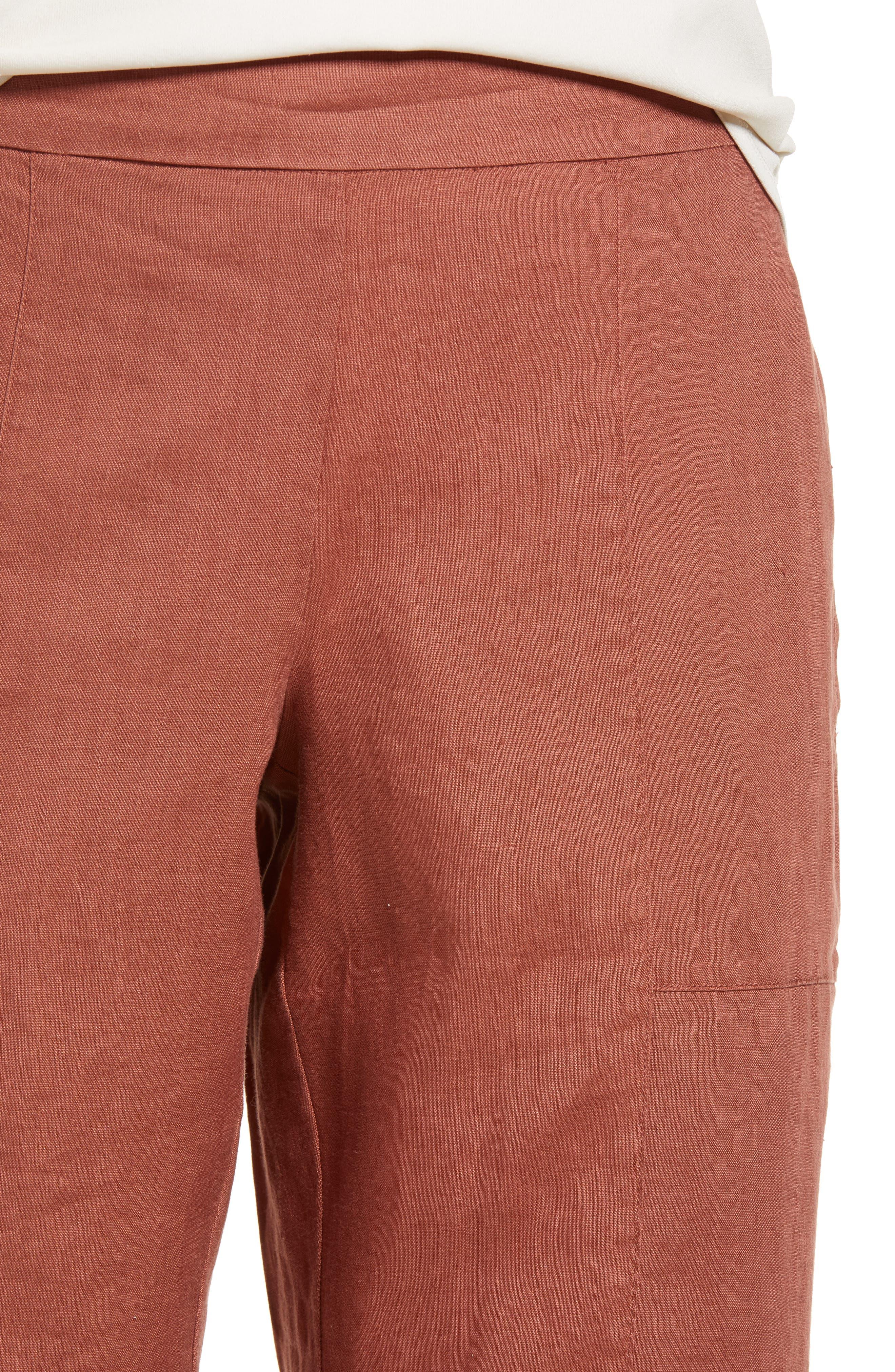 Organic Linen Crop Pants,                             Alternate thumbnail 4, color,                             Russet