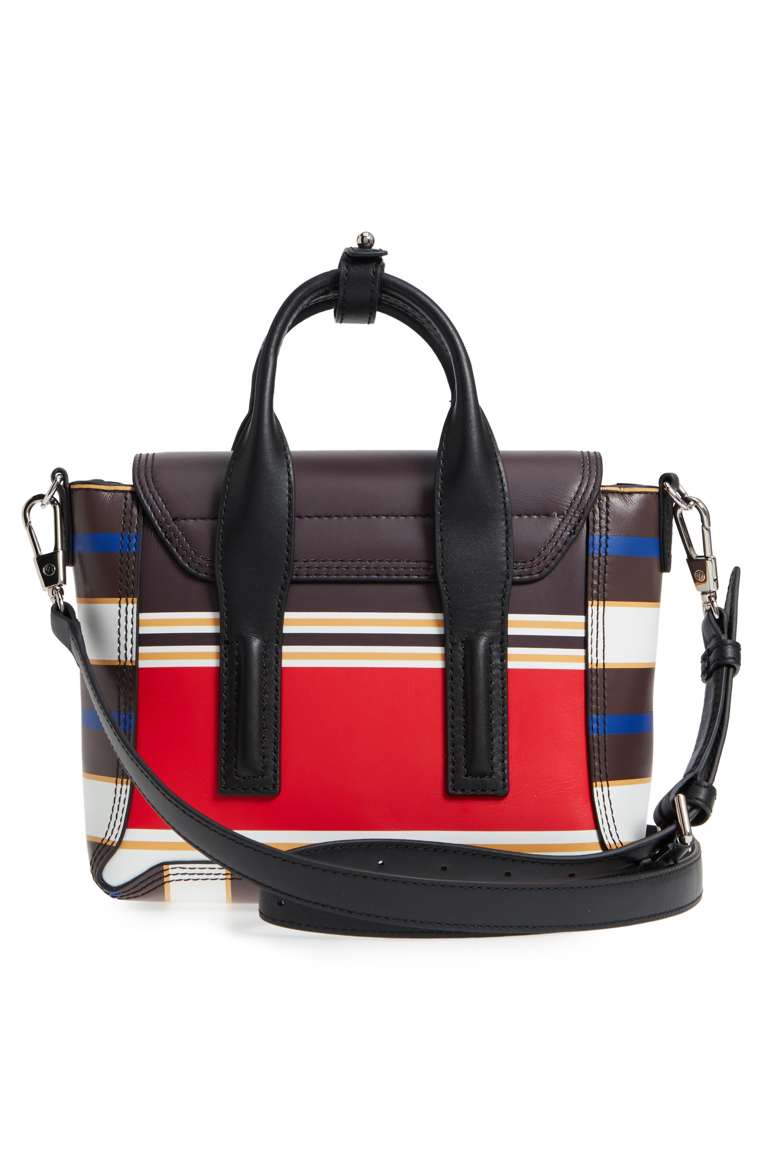 Mini Pashli Stripe Leather Satchel,                             Alternate thumbnail 3, color,                             Red Multi