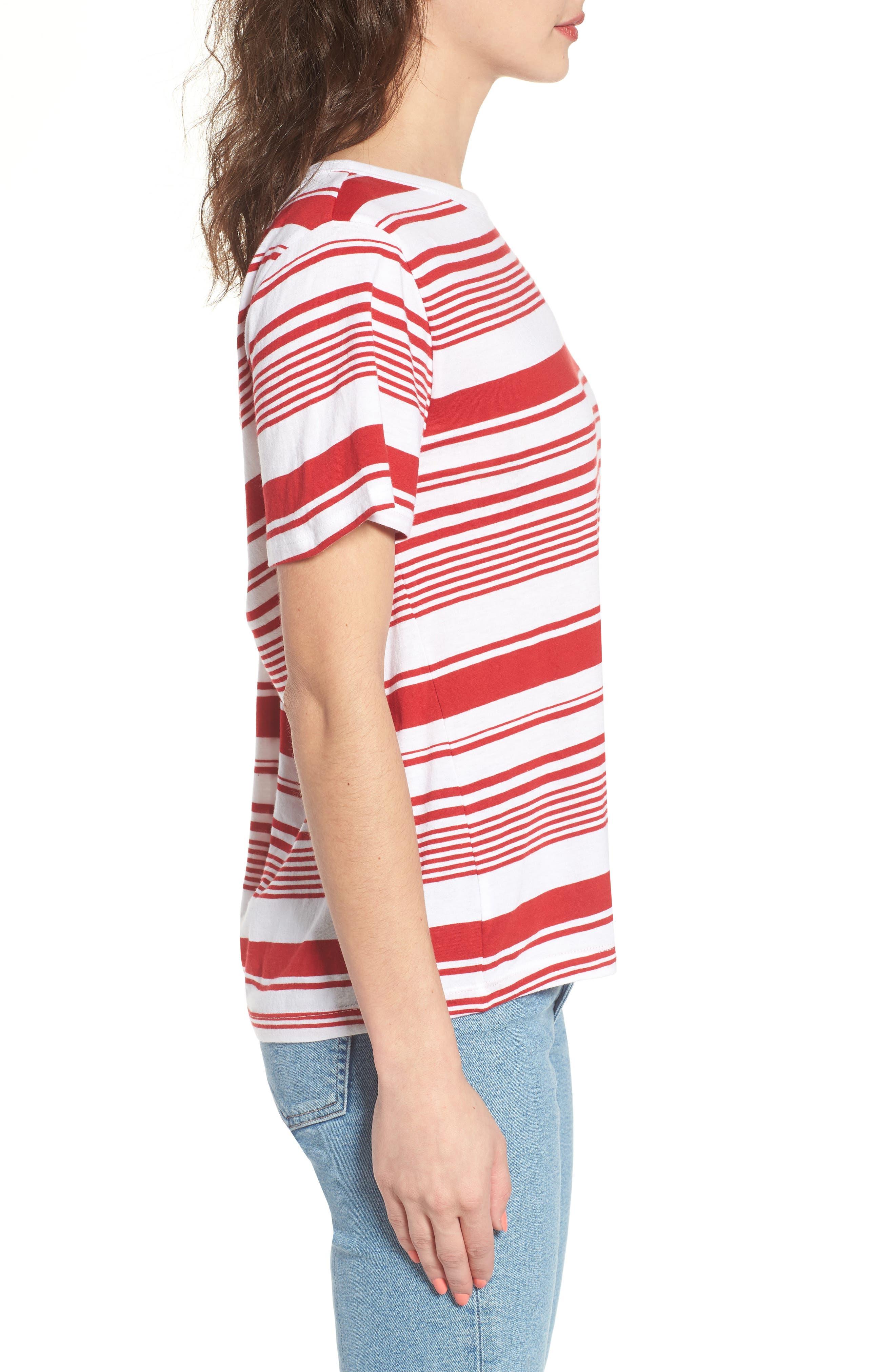 Twist Back Tee,                             Alternate thumbnail 3, color,                             Red Couture Monaco Stripe