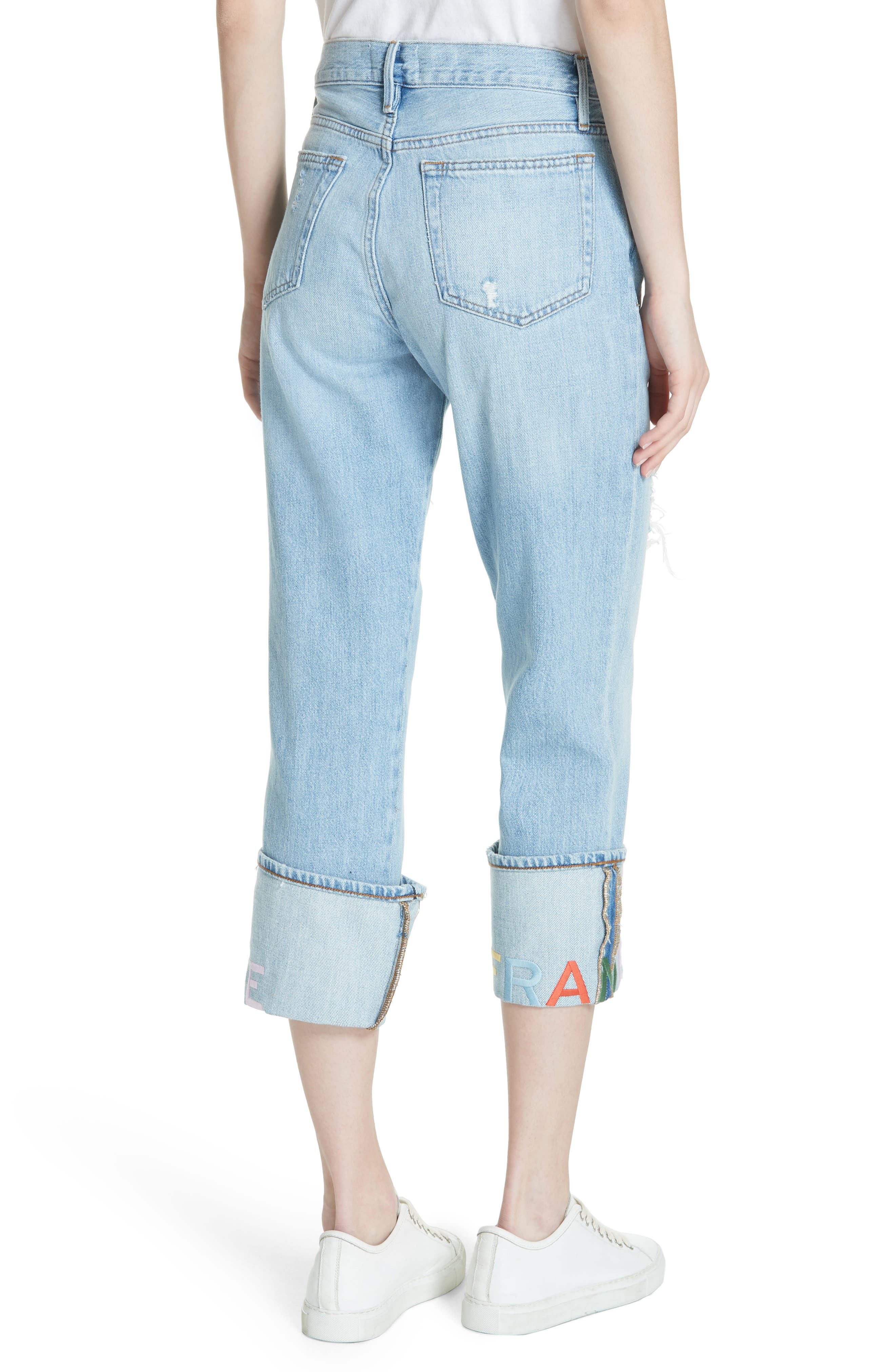 Distressed & Embroidered Straight Leg Jeans,                             Alternate thumbnail 2, color,                             Rydell