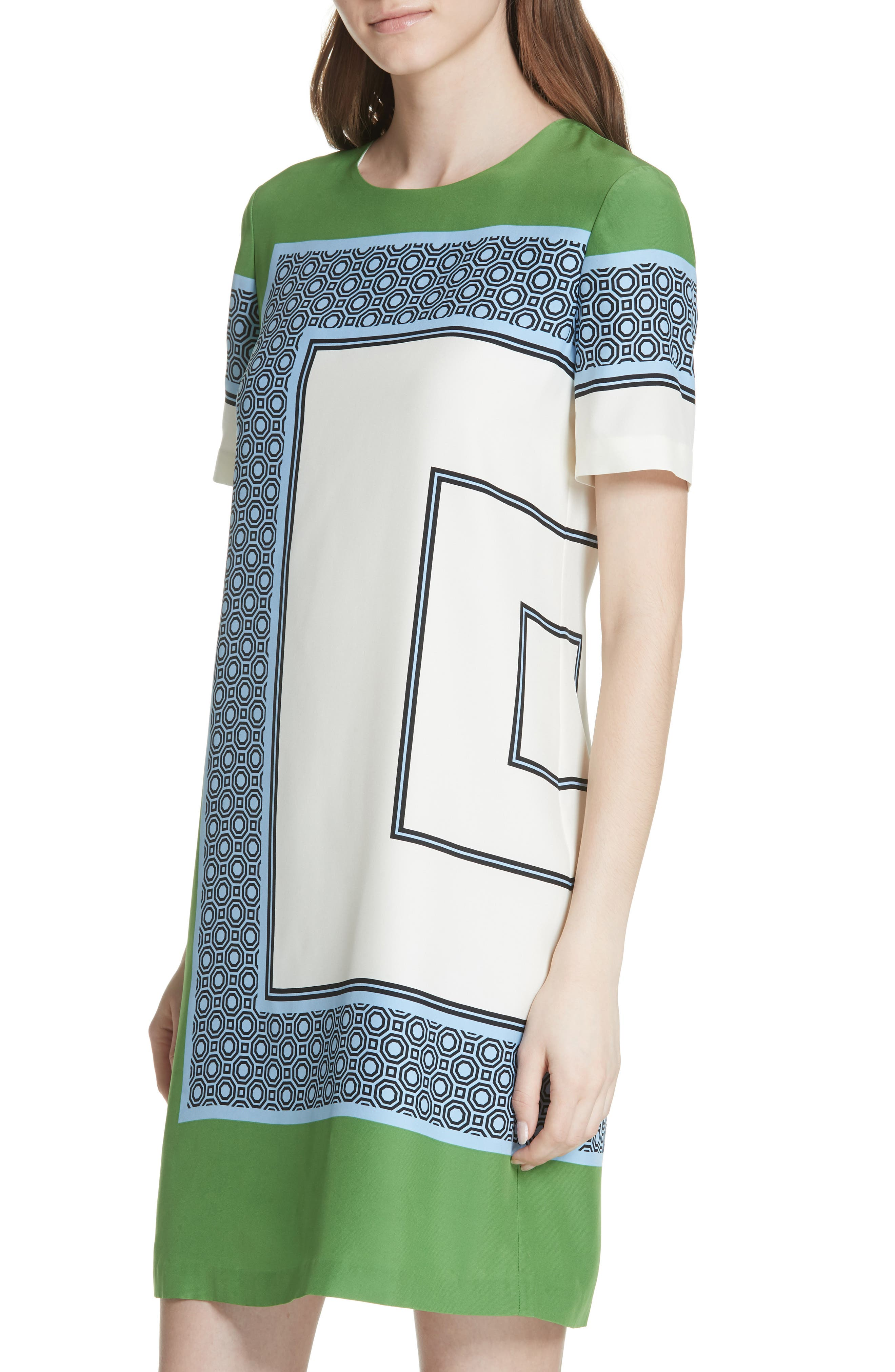 Mallory Silk Dress,                             Alternate thumbnail 4, color,                             Light Chambray