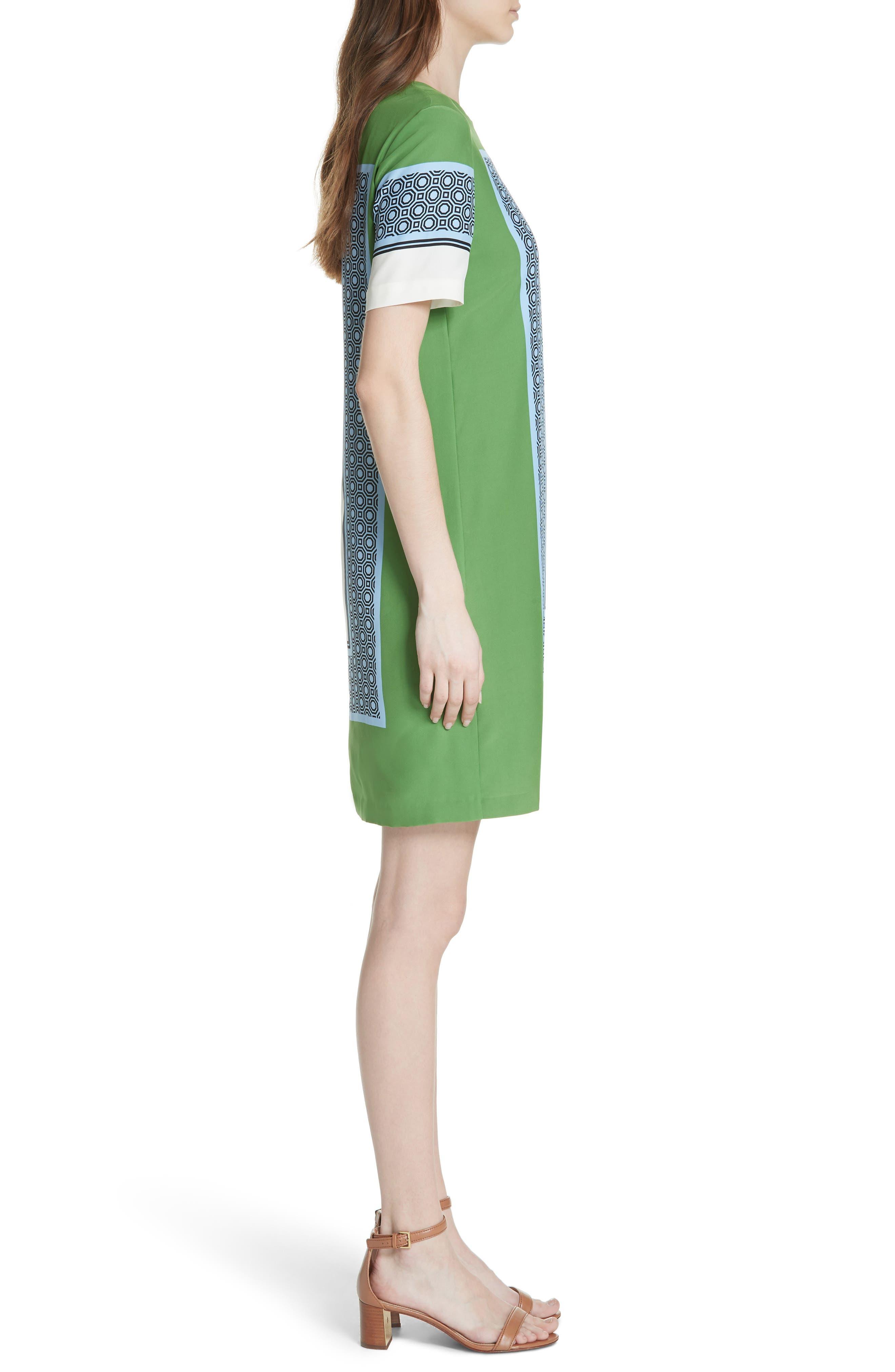 Mallory Silk Dress,                             Alternate thumbnail 3, color,                             Light Chambray