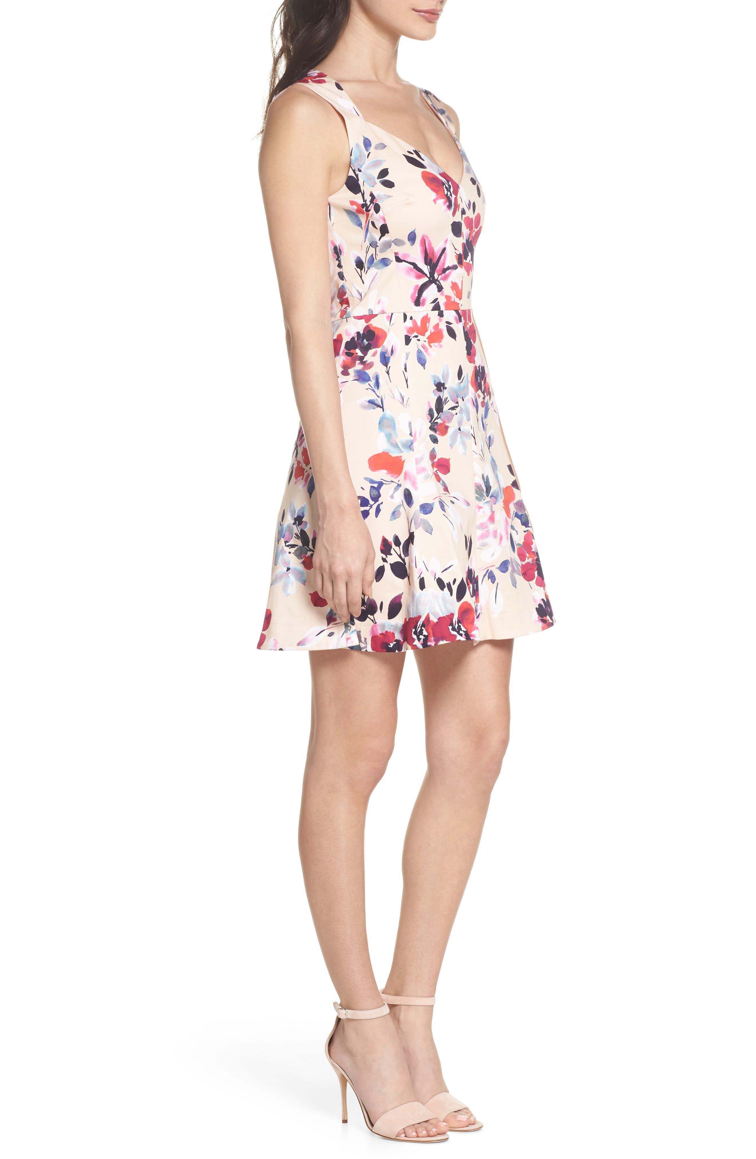 Linosa Fit & Flare Dress,                             Alternate thumbnail 3, color,                             Barley Pink