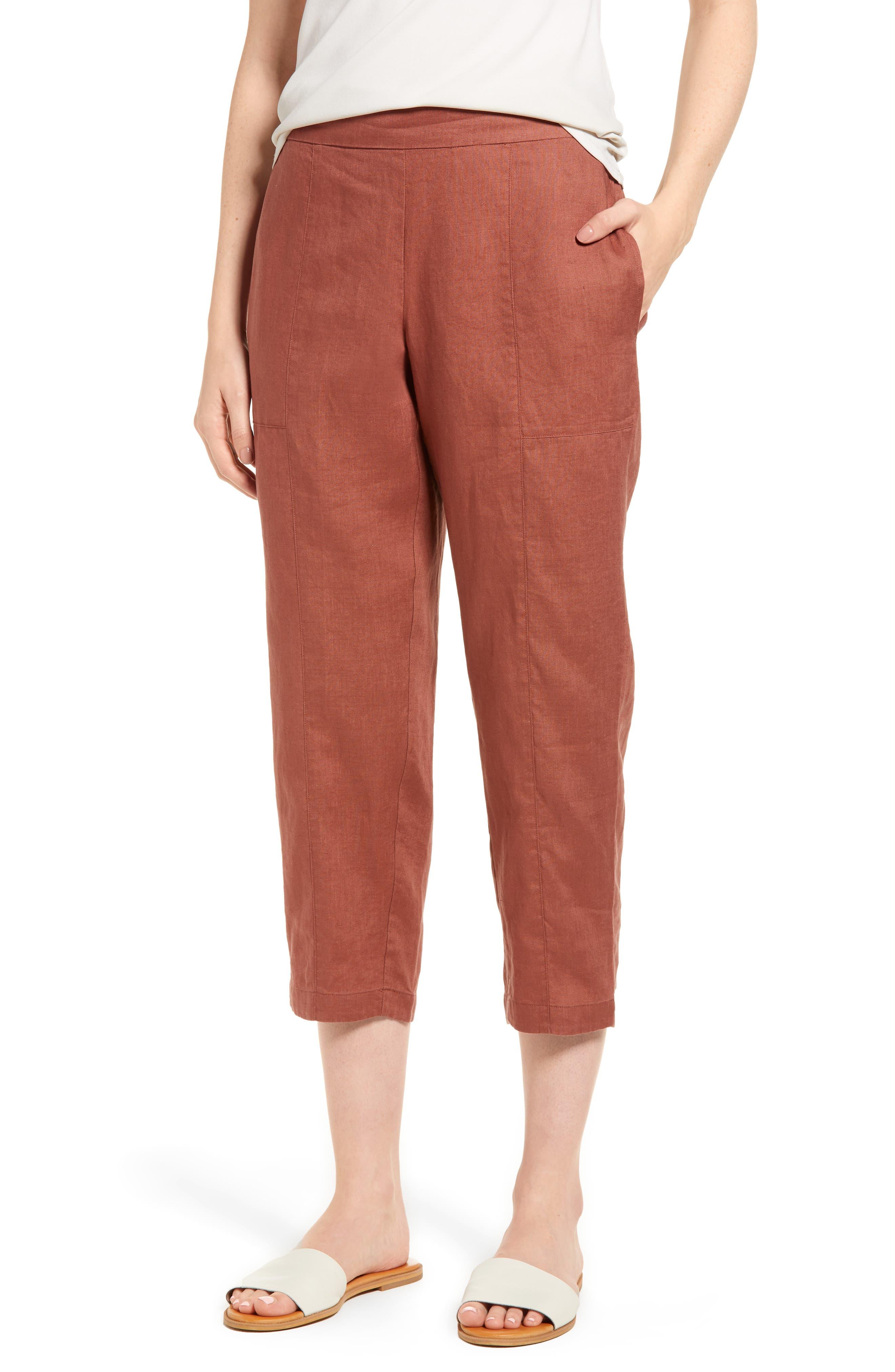 Organic Linen Crop Pants,                         Main,                         color, Russet