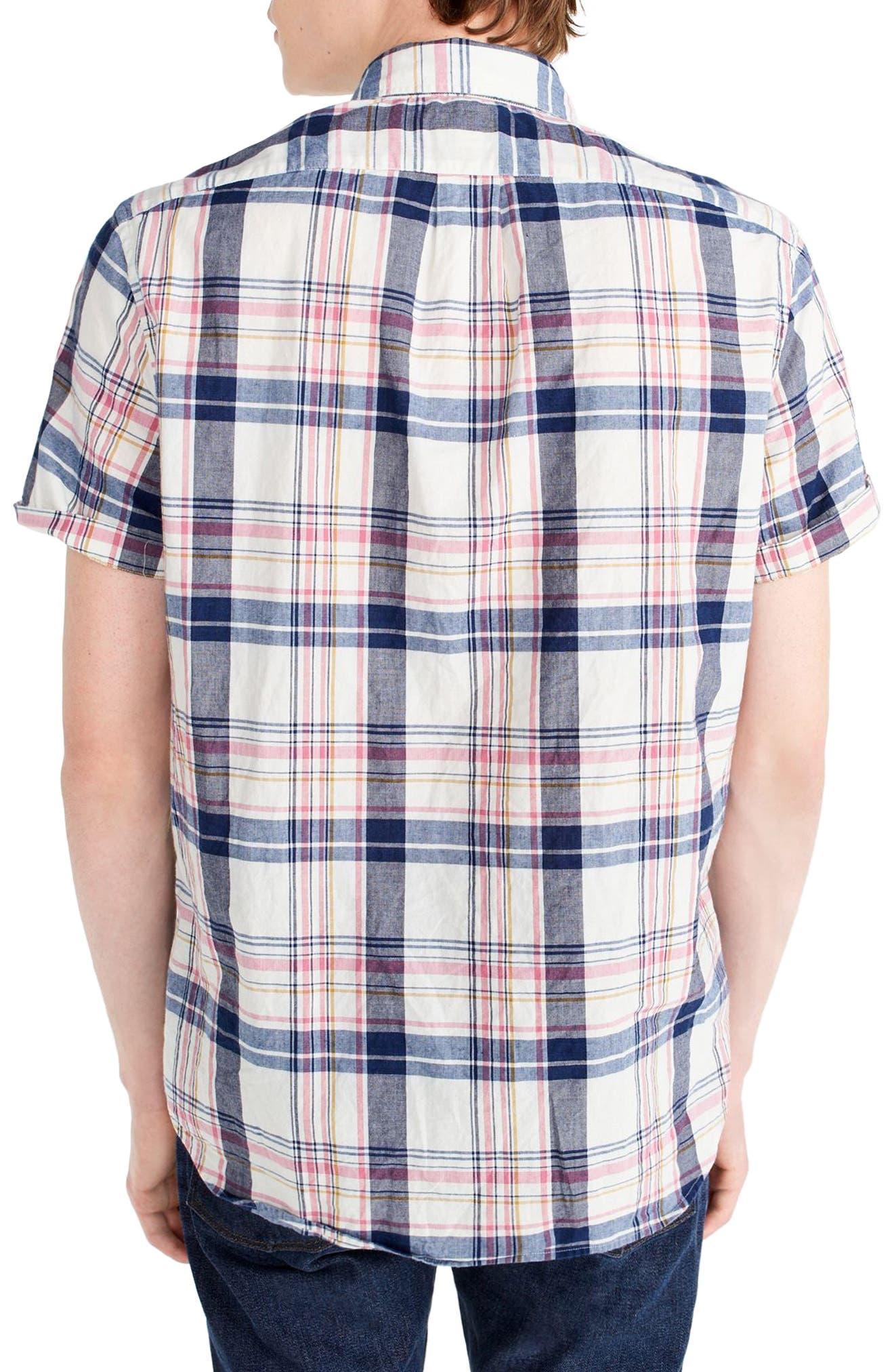 Indigo Plaid Short Sleeve Madras Shirt,                             Alternate thumbnail 2, color,                             Indigo Creme