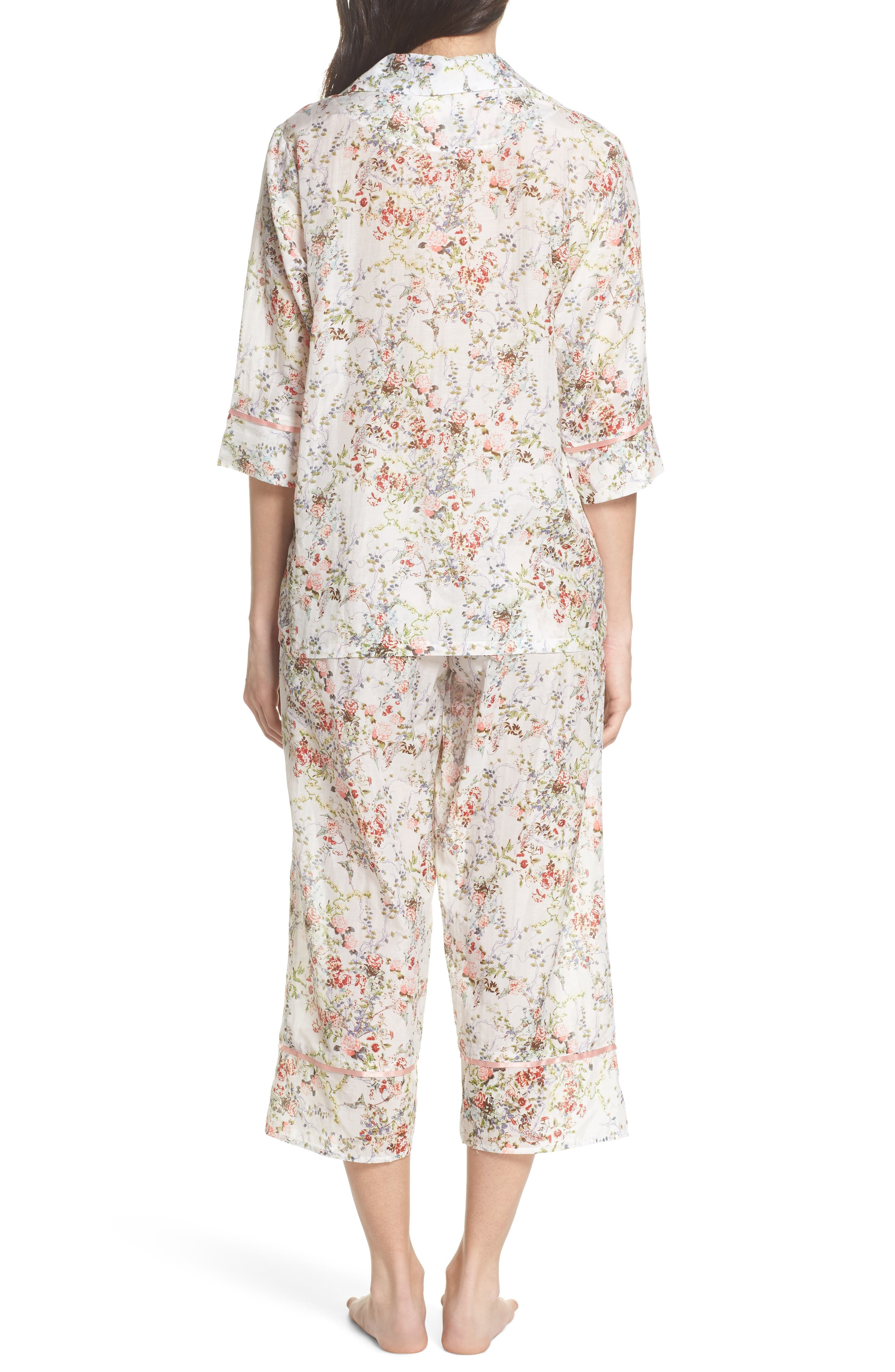 Yolly Floral Cotton & Silk Pajamas,                             Alternate thumbnail 2, color,                             Ivory Floral