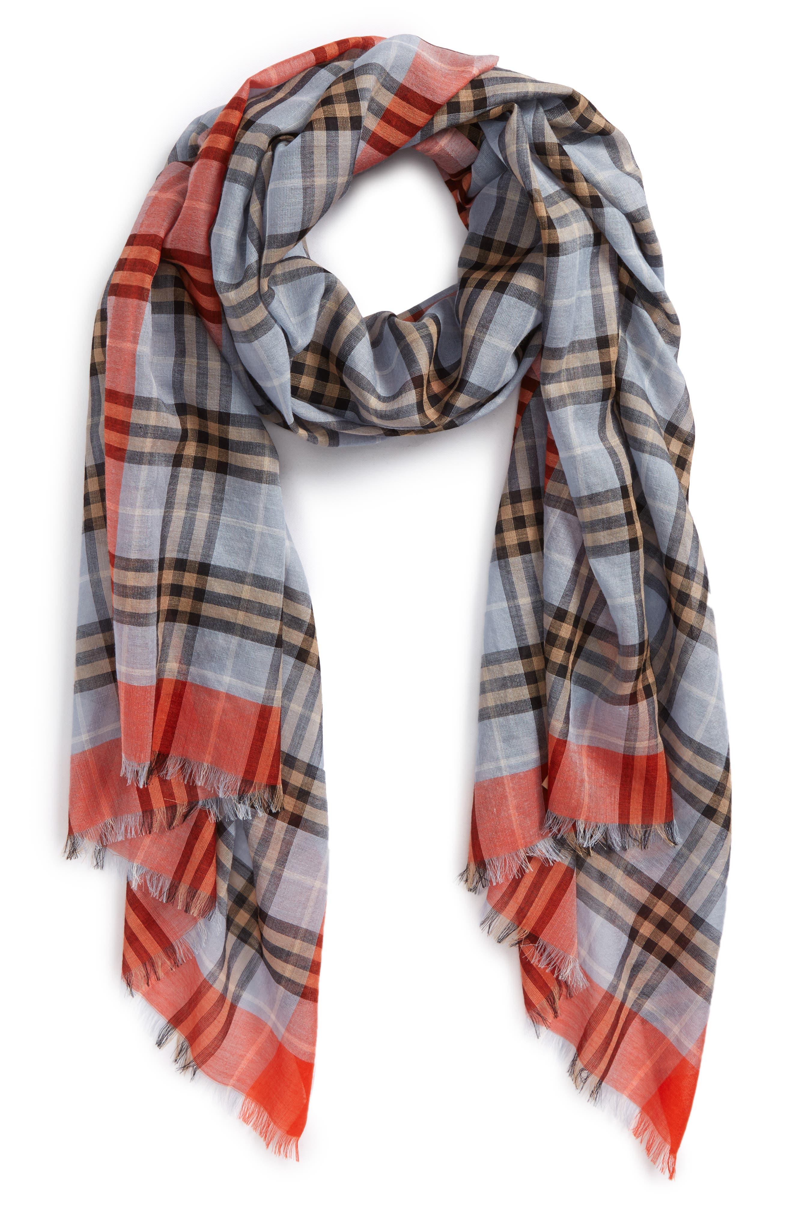 Border Vintage Check Wool & Silk Scarf,                         Main,                         color, Pale Slate Blue