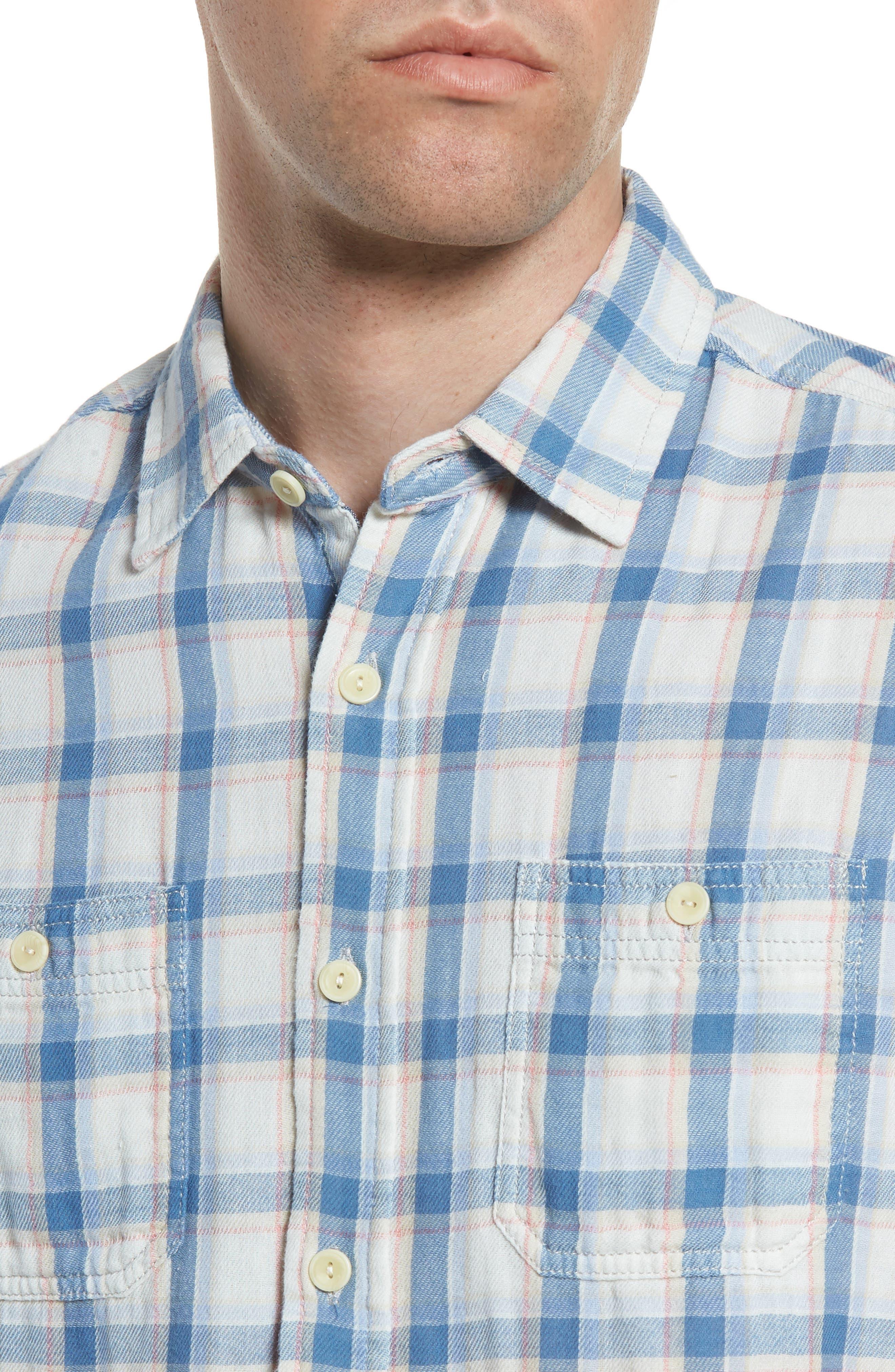 Larson Short Sleeve Sport Shirt,                             Alternate thumbnail 2, color,                             Cream Blue Plaid