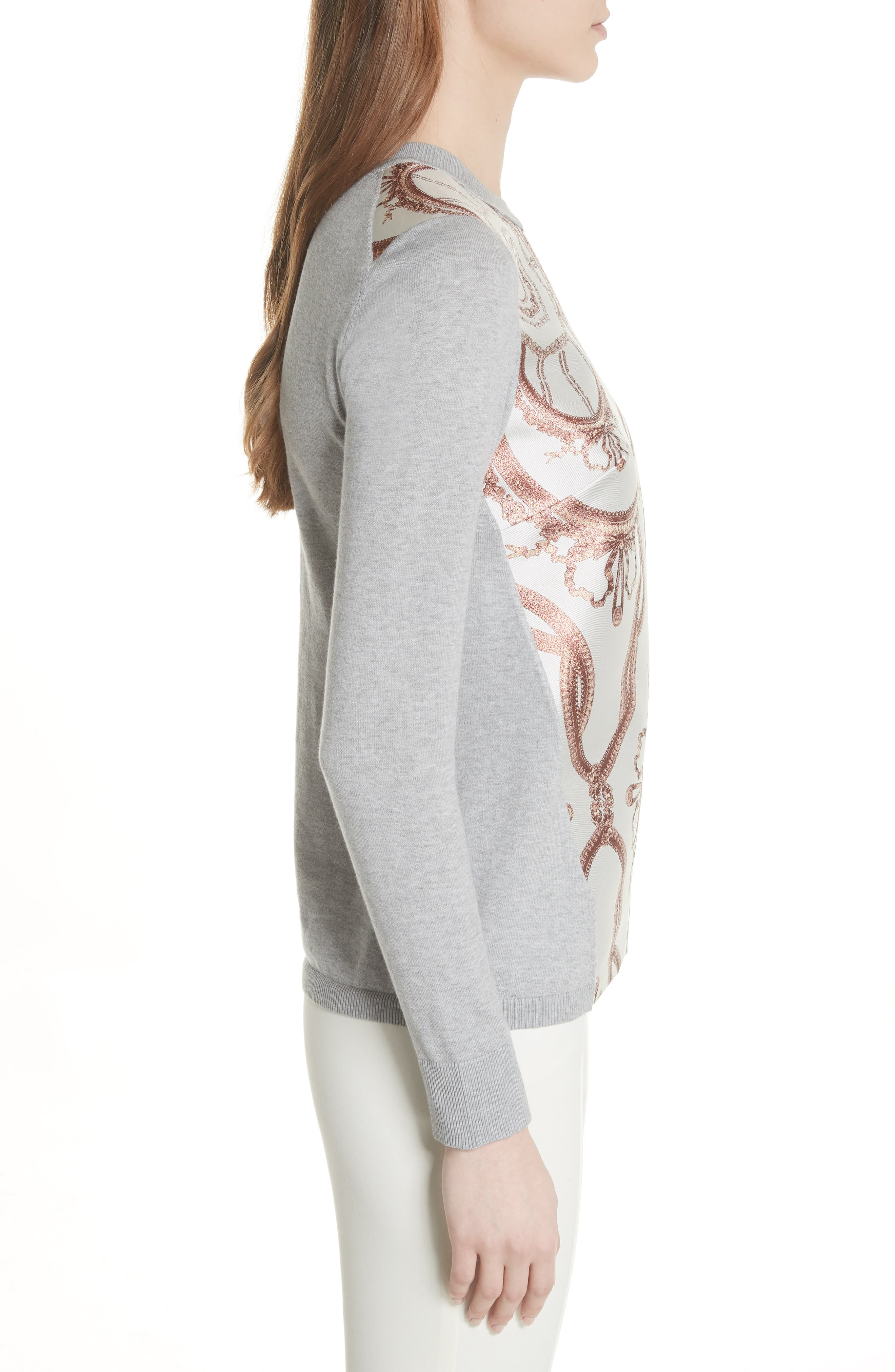 Versailles Jacquard Front Sweater,                             Alternate thumbnail 3, color,                             Light Grey
