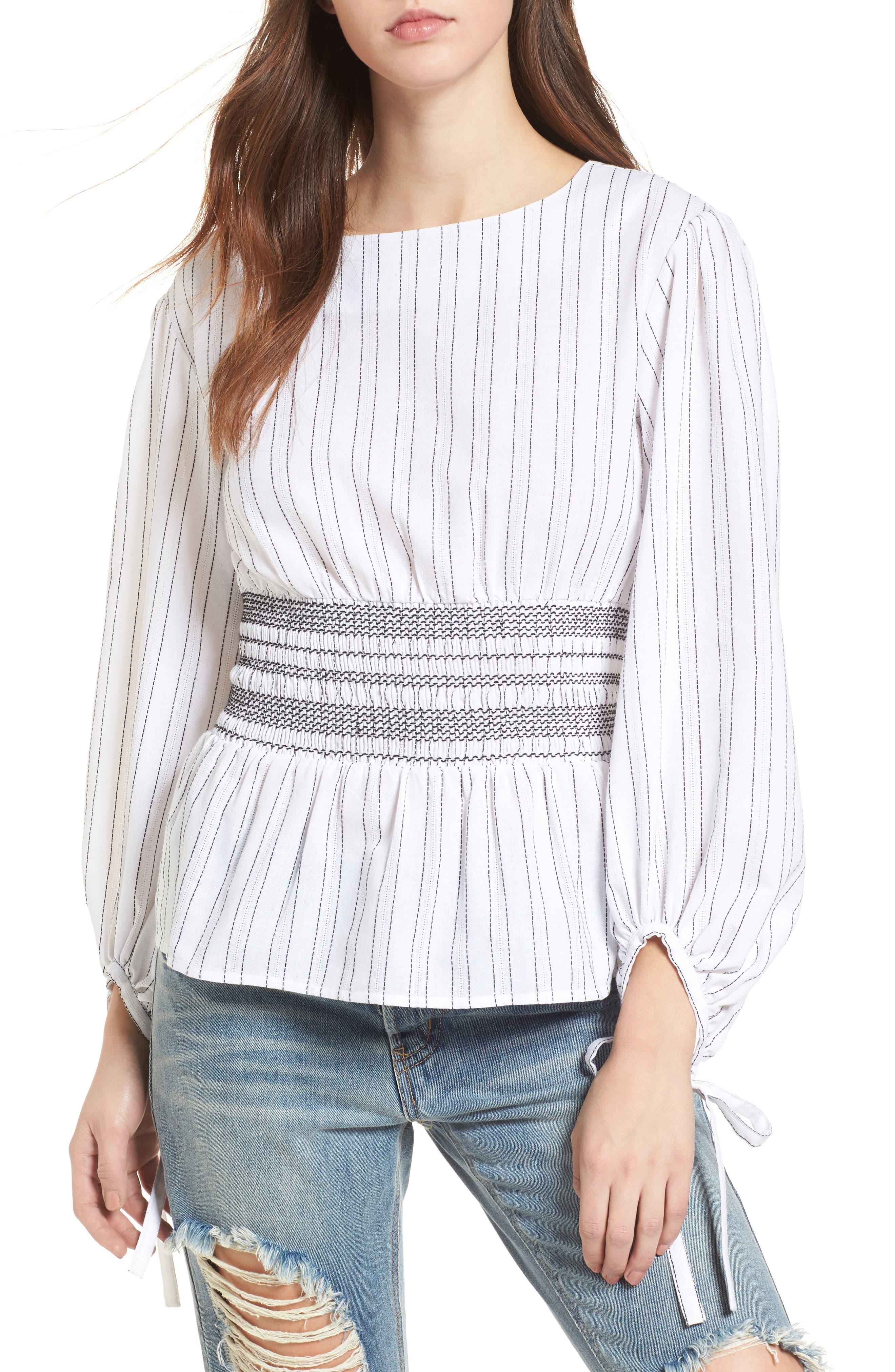 Stripe Peplum Top,                         Main,                         color, Ivory/ Black