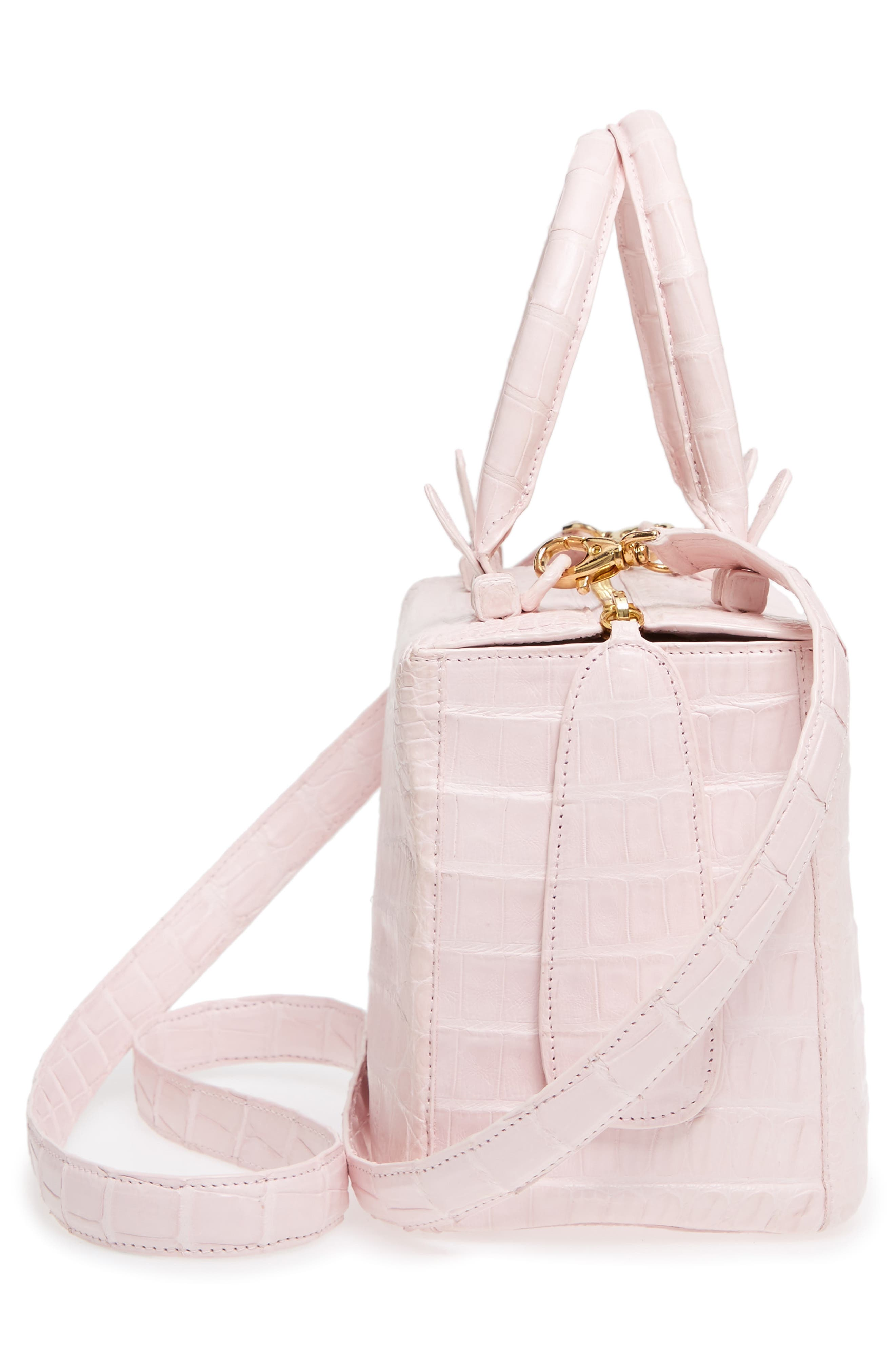 Small Cube Genuine Crocodile Crossbody Bag,                             Alternate thumbnail 5, color,                             Pink