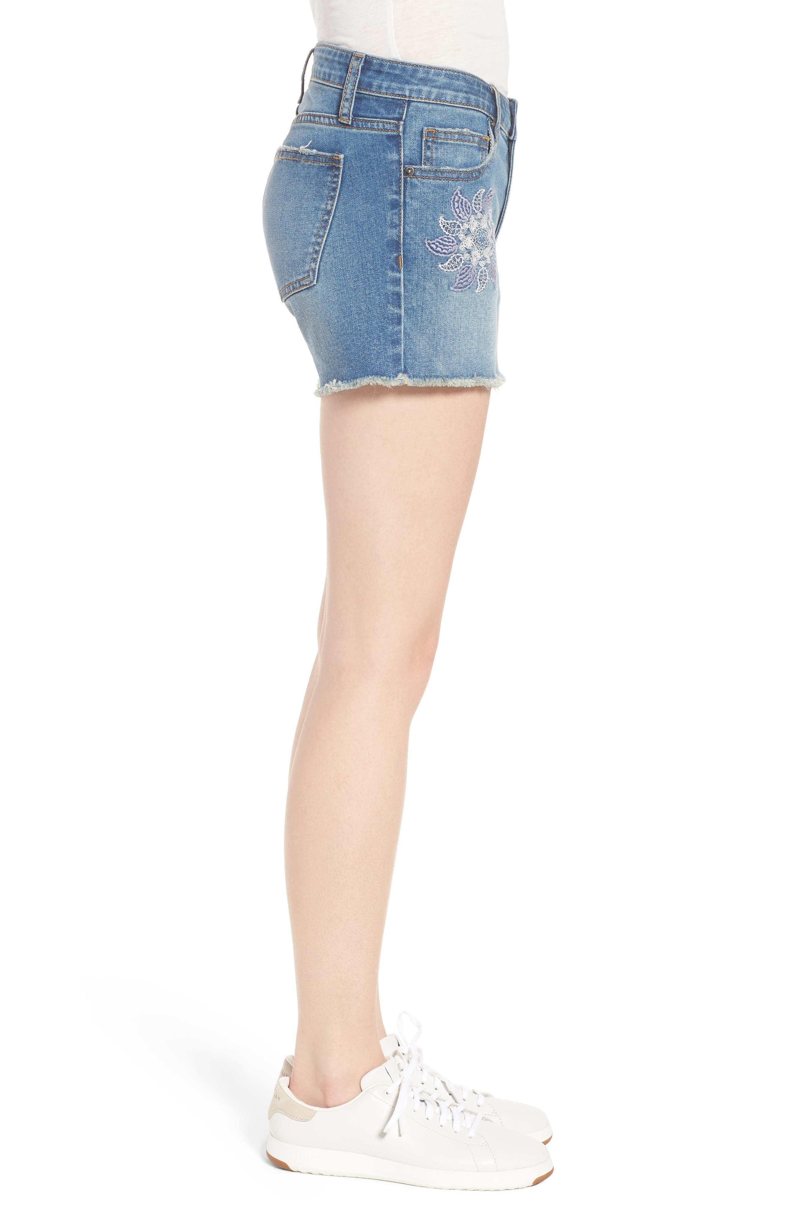 Embroidered Denim Shorts,                             Alternate thumbnail 3, color,                             Blue W/ Embroider