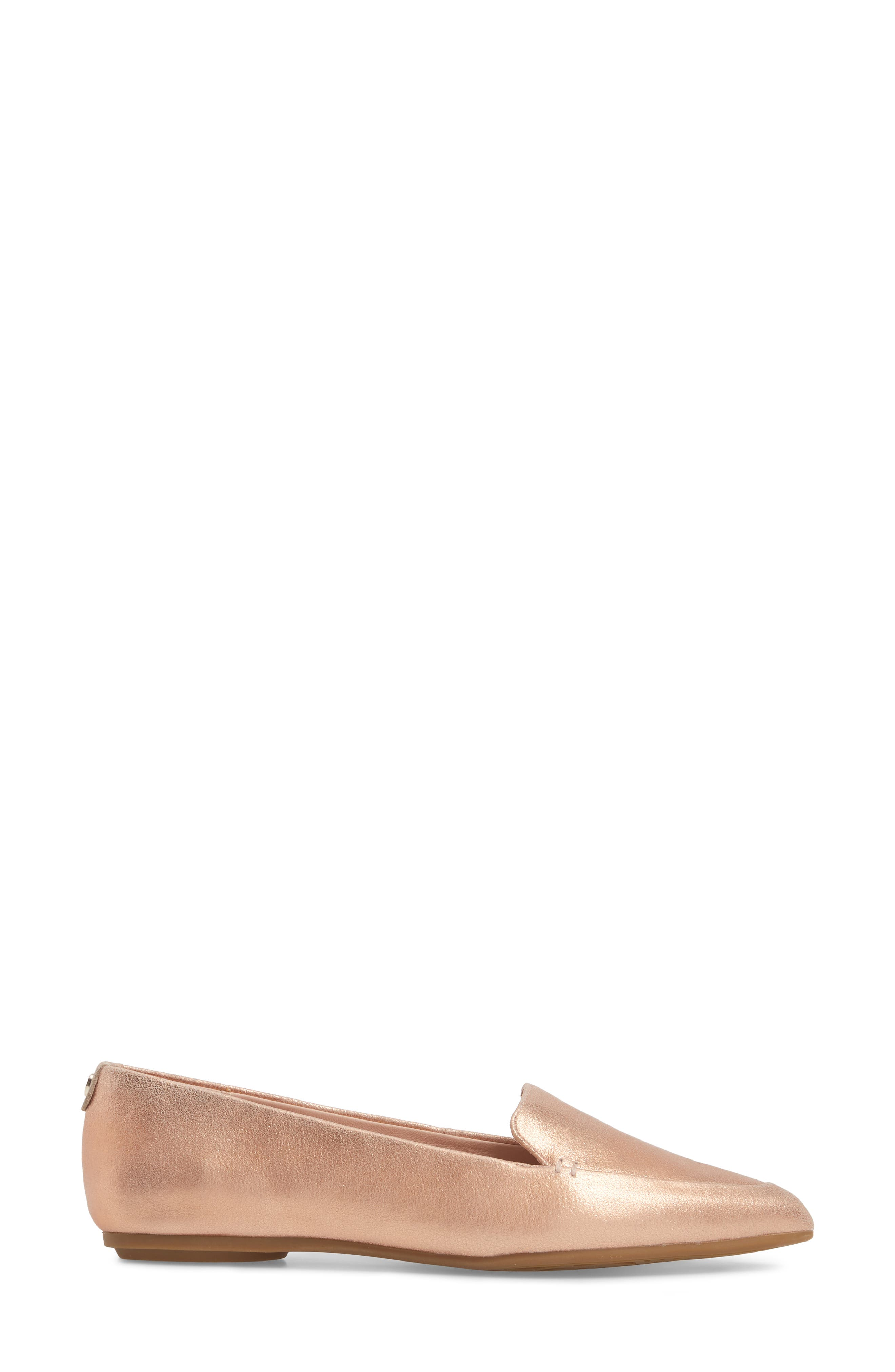 Faye Pointy Toe Loafer,                             Alternate thumbnail 3, color,                             Rose Gold Metallic Leather