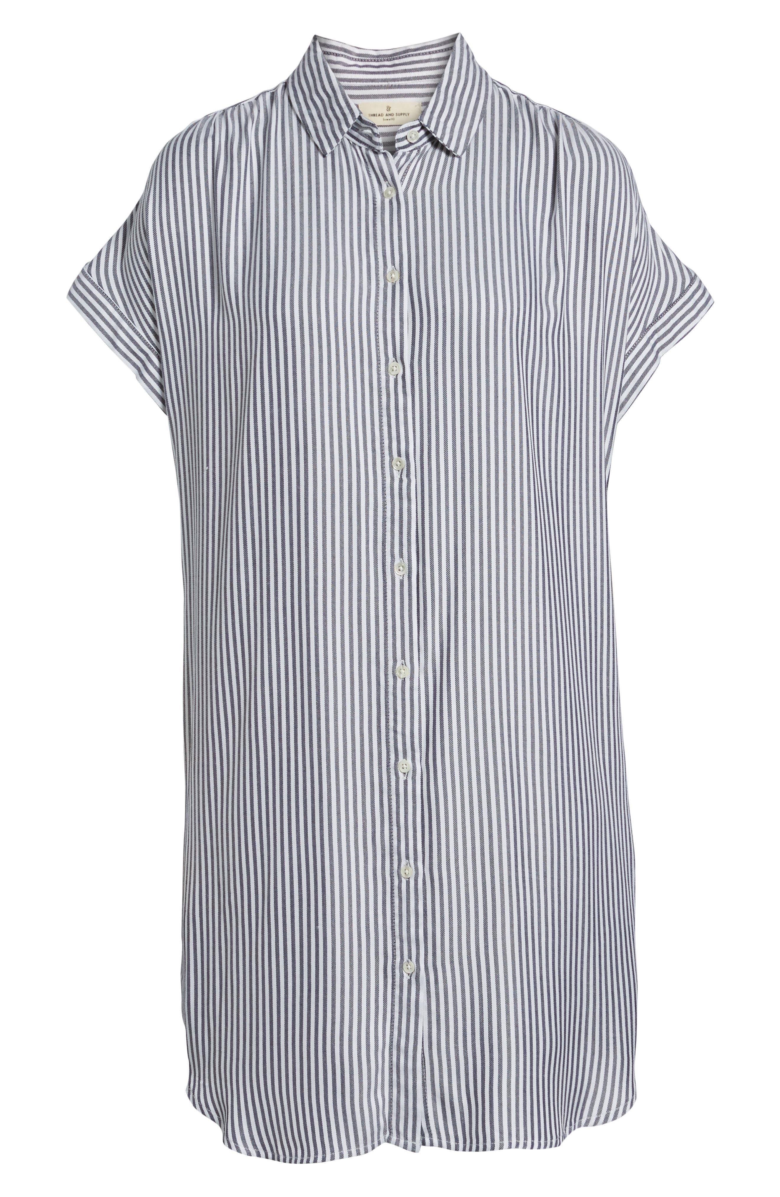 Skipper Stripe Shirtdress,                             Alternate thumbnail 6, color,                             Navy White