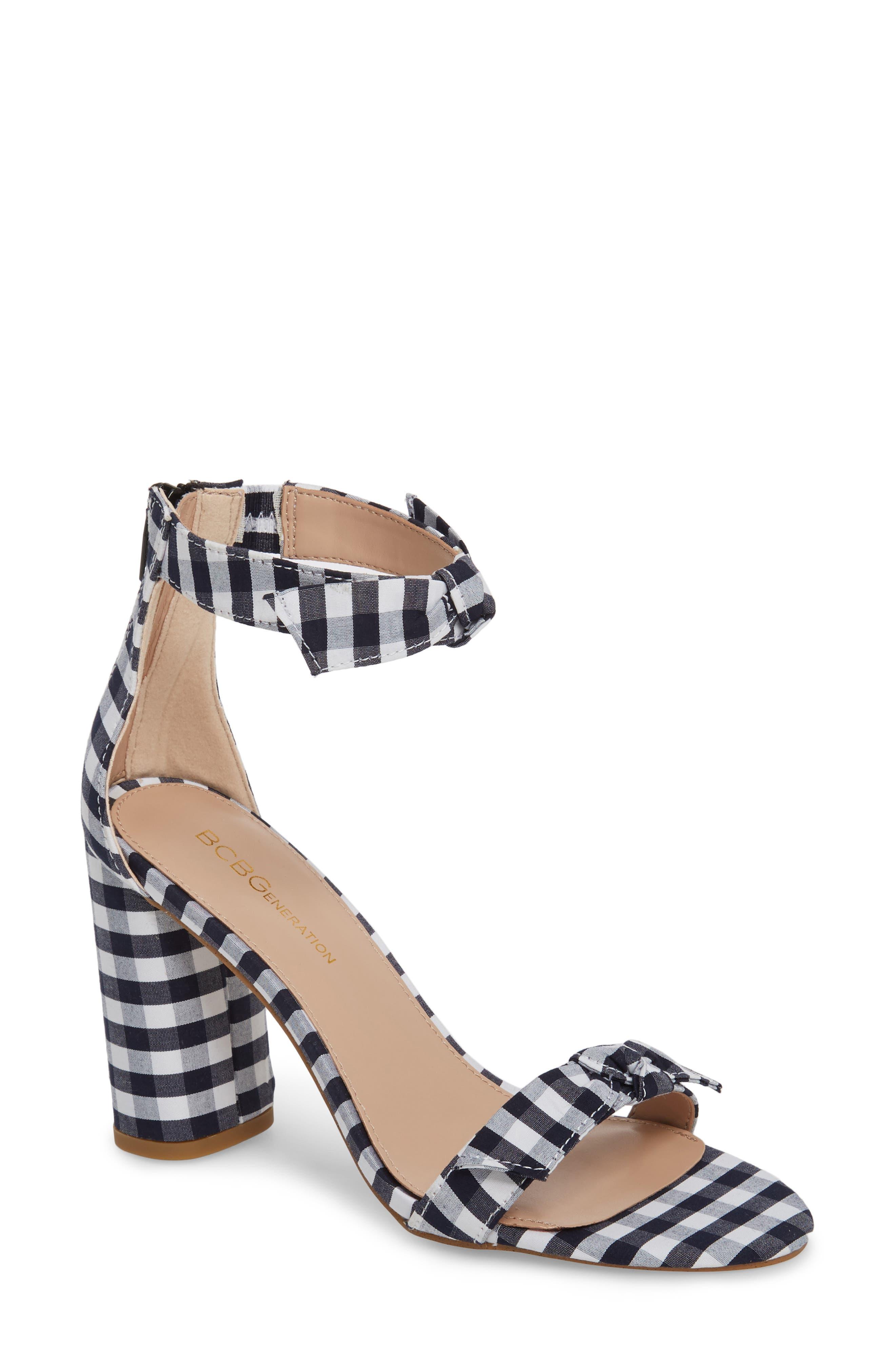 Faedra Ankle Strap Sandal,                             Main thumbnail 1, color,                             Dark Blue/ White
