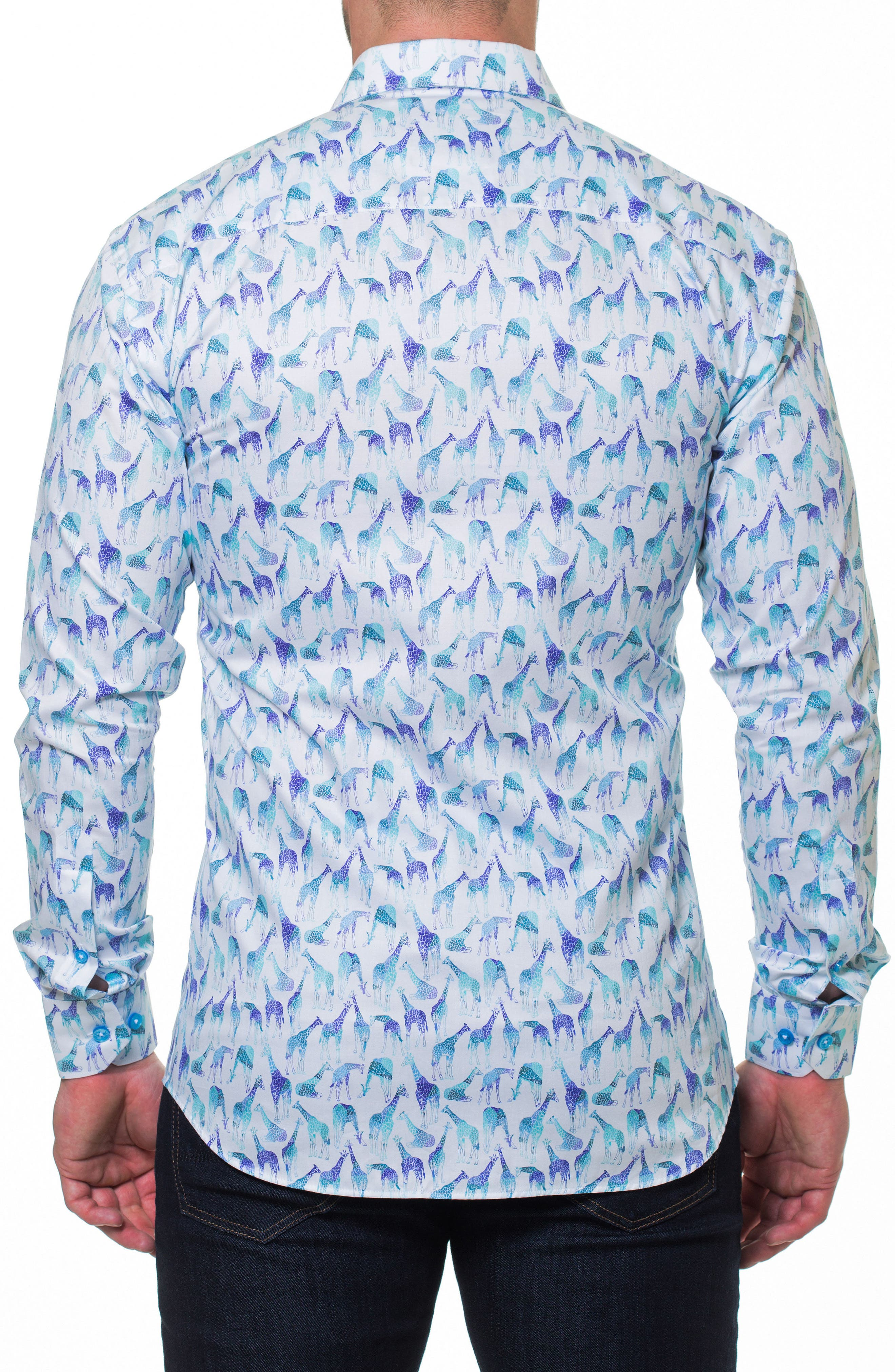 Luxor Giraffe Sport Shirt,                             Alternate thumbnail 2, color,                             Blue