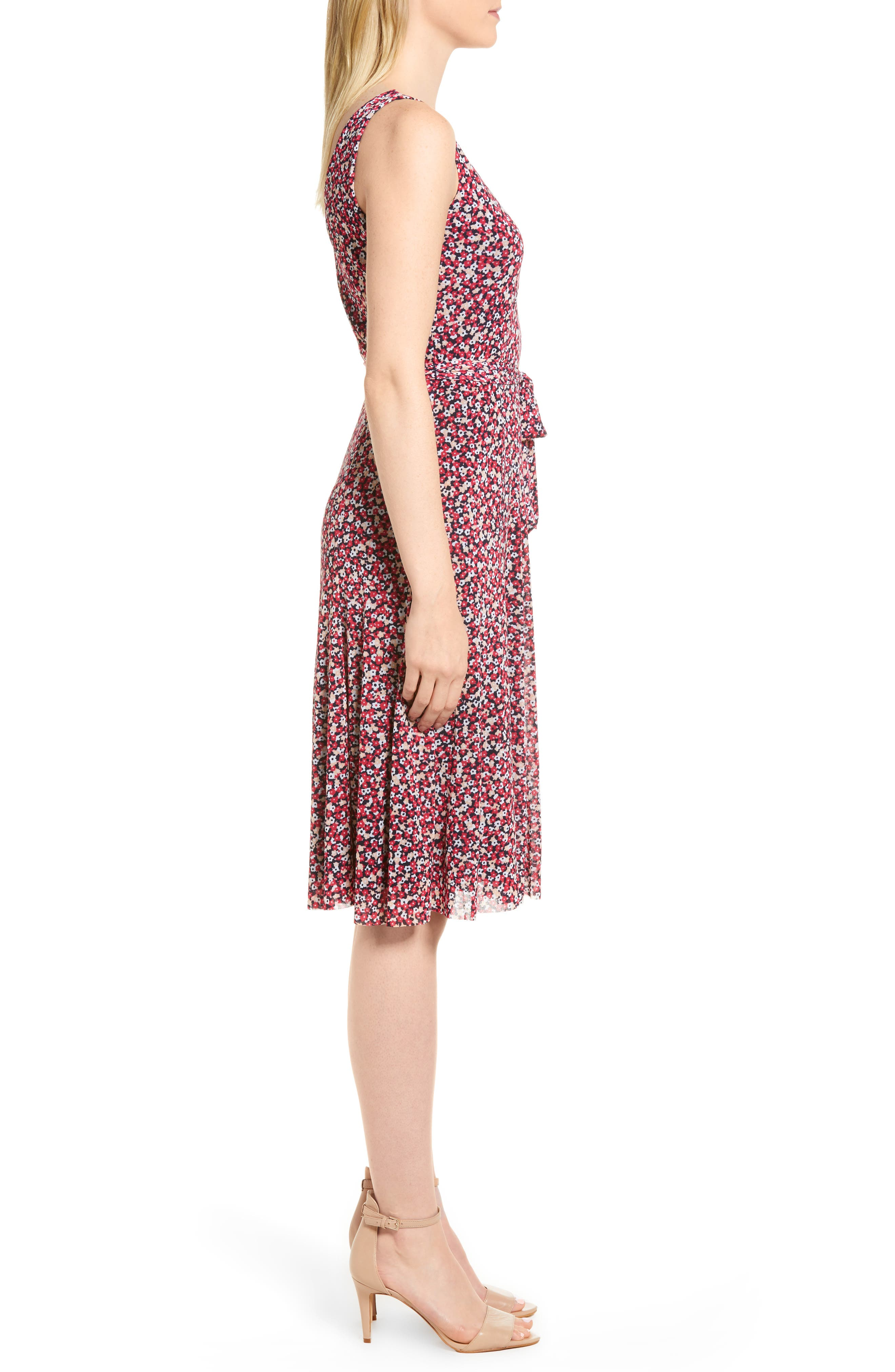 Floral Tank Dress,                             Alternate thumbnail 3, color,                             True Navy/ Bright Blush