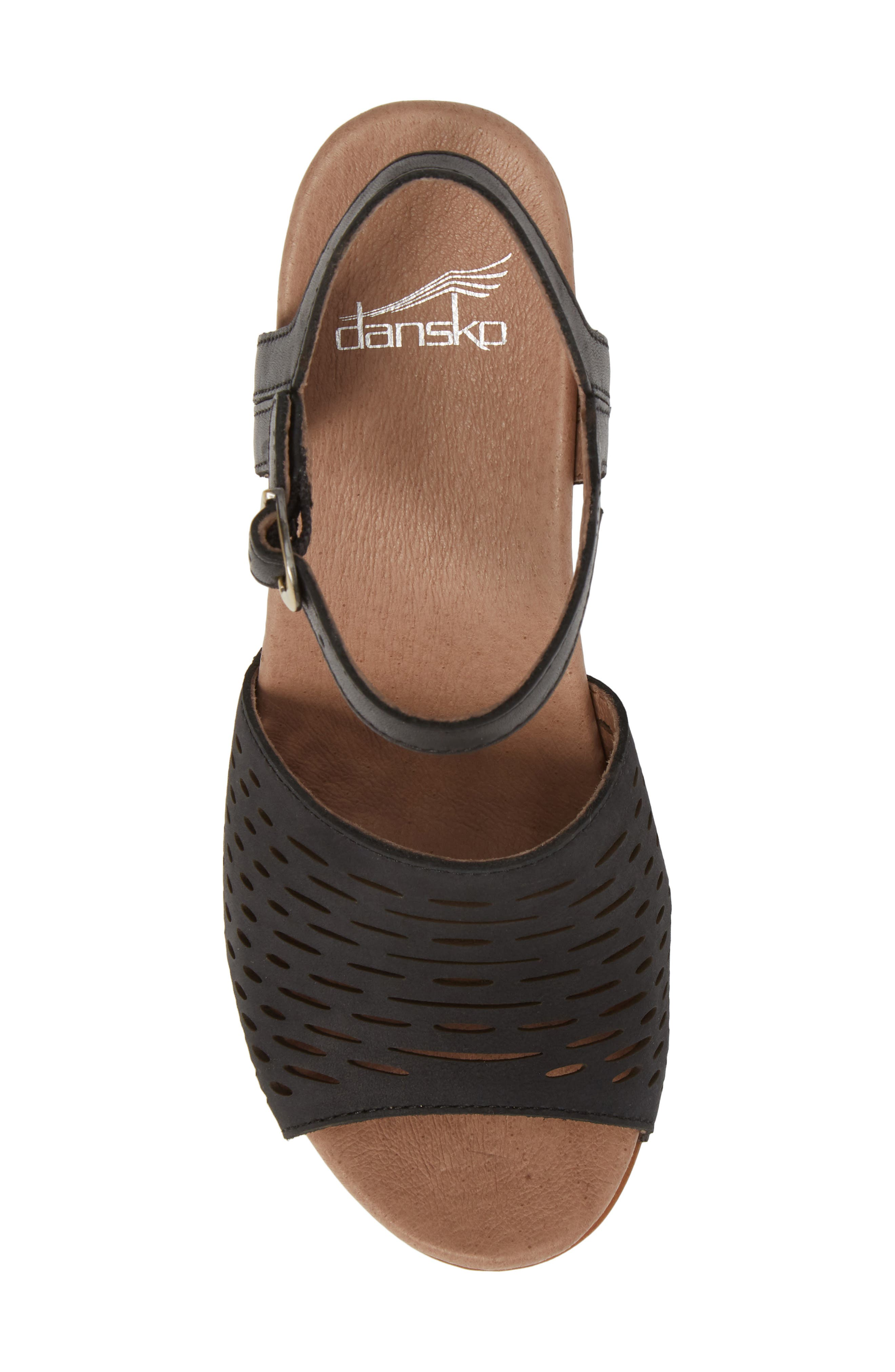 Denita Block Heel Sandal,                             Alternate thumbnail 5, color,                             Black Milled Nubuck Leather