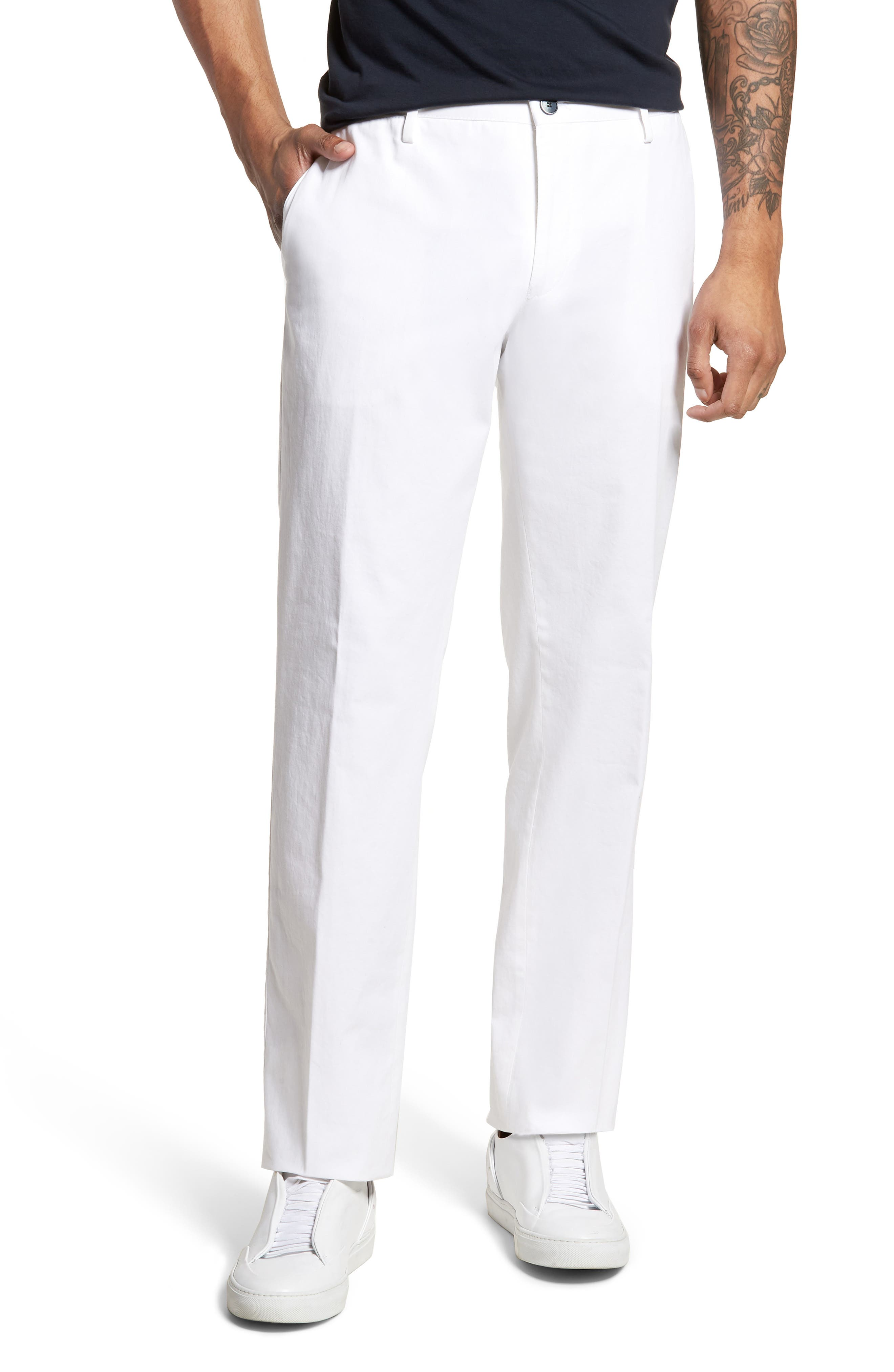 Alternate Image 1 Selected - BOSS Stanino-W Flat Front Stretch Cotton Trousers