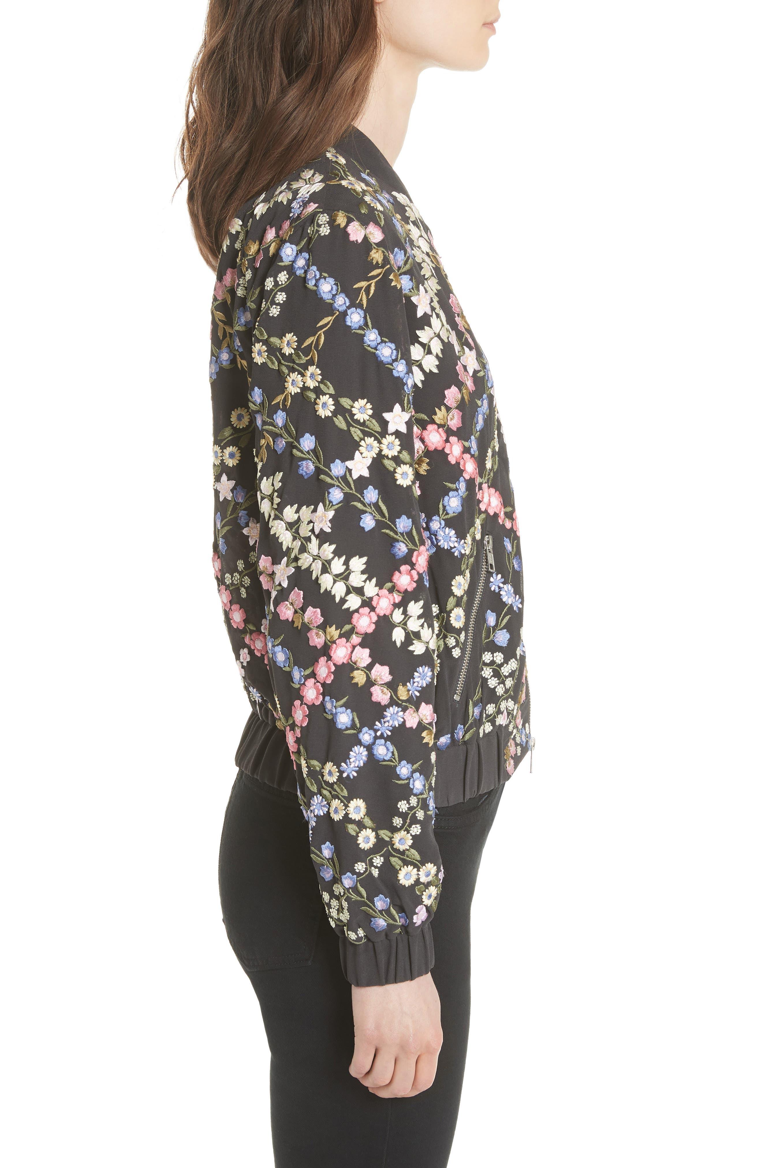 Crosshatch Embroidered Bomber Jacket,                             Alternate thumbnail 3, color,                             Graphite / Lavender