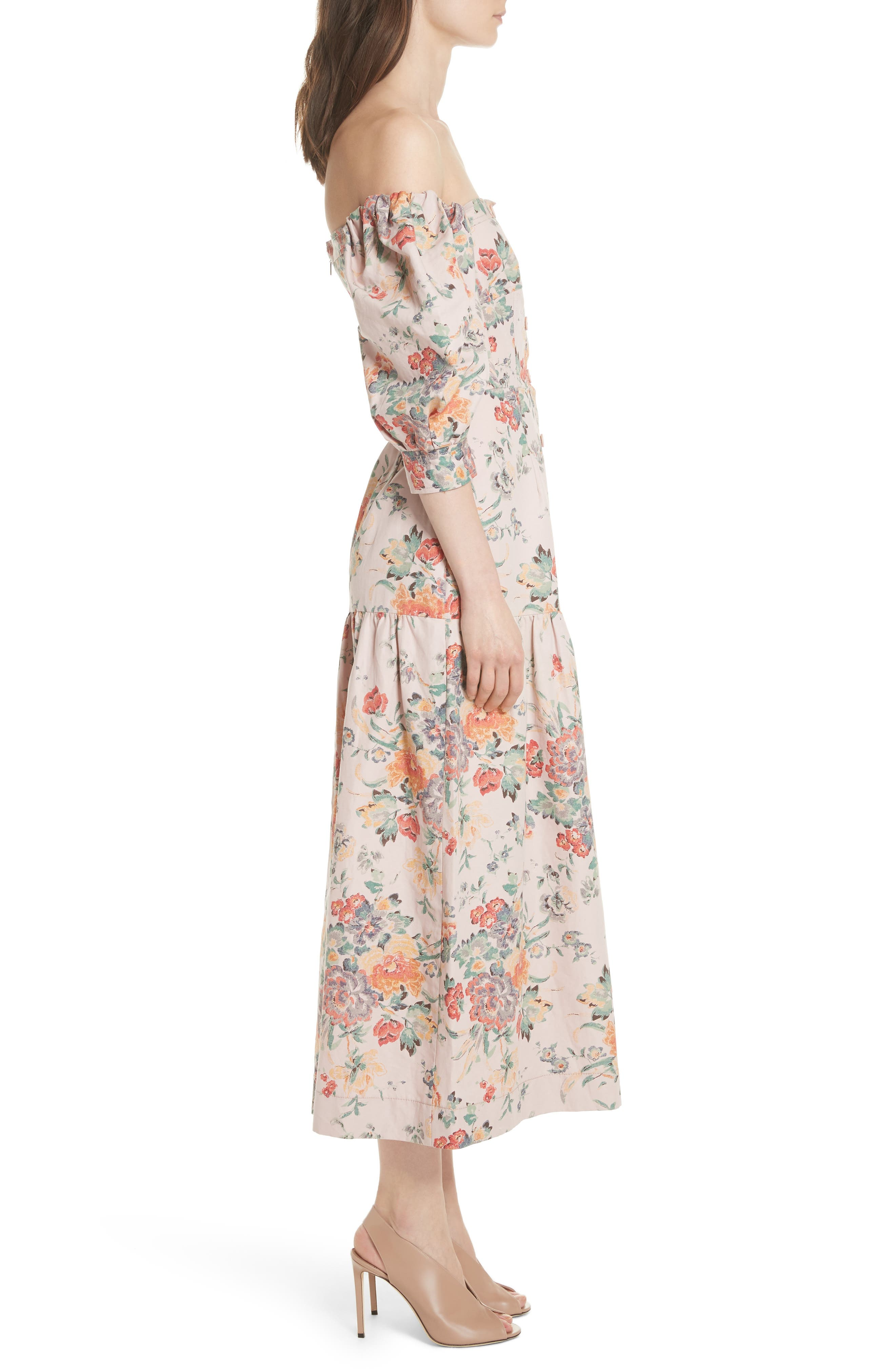Marlena Off the Shoulder Floral Midi Dress,                             Alternate thumbnail 3, color,                             Dusty Rose Combo