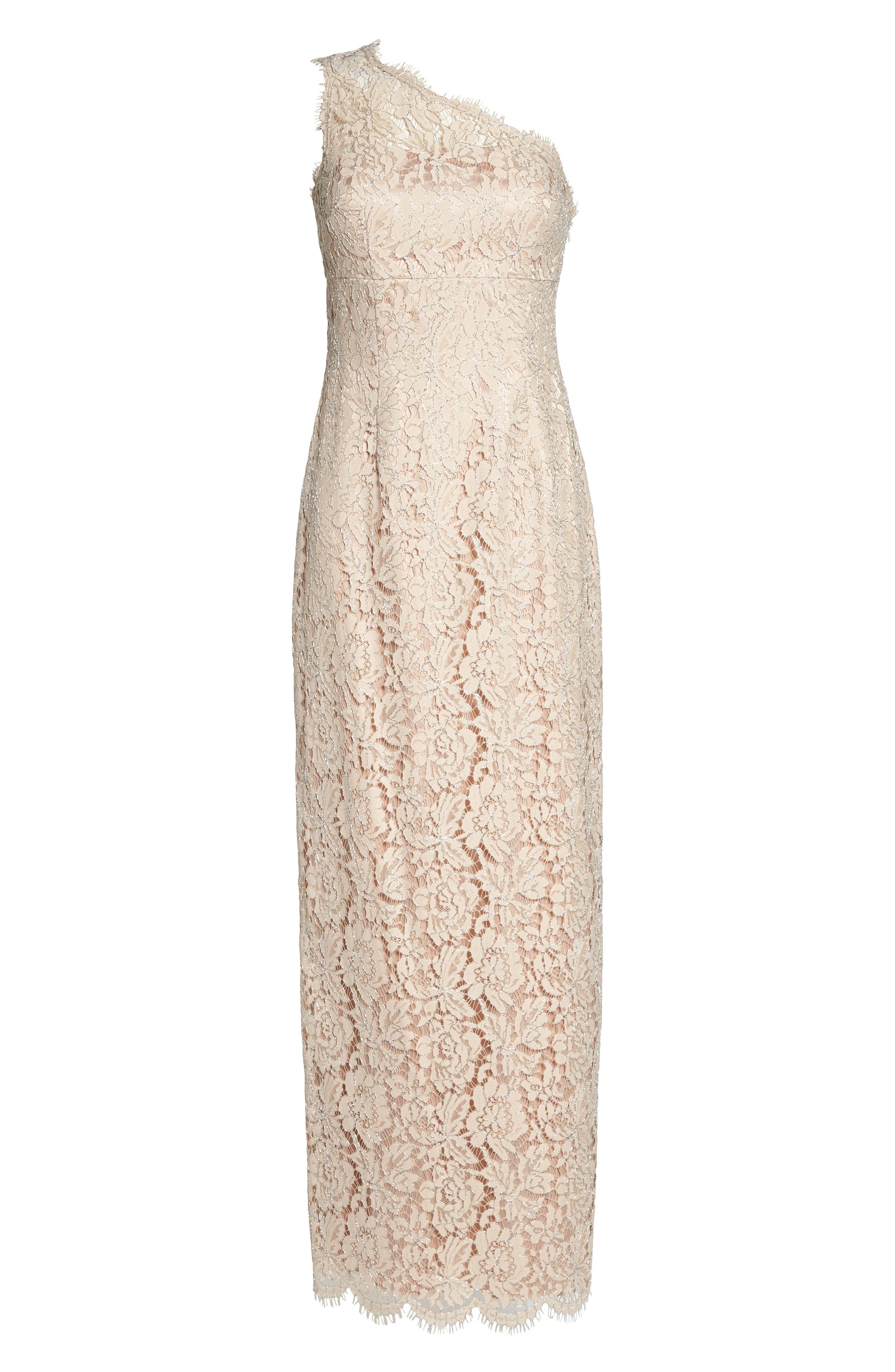 One-Shoulder Lace Gown,                             Alternate thumbnail 6, color,                             Champagne