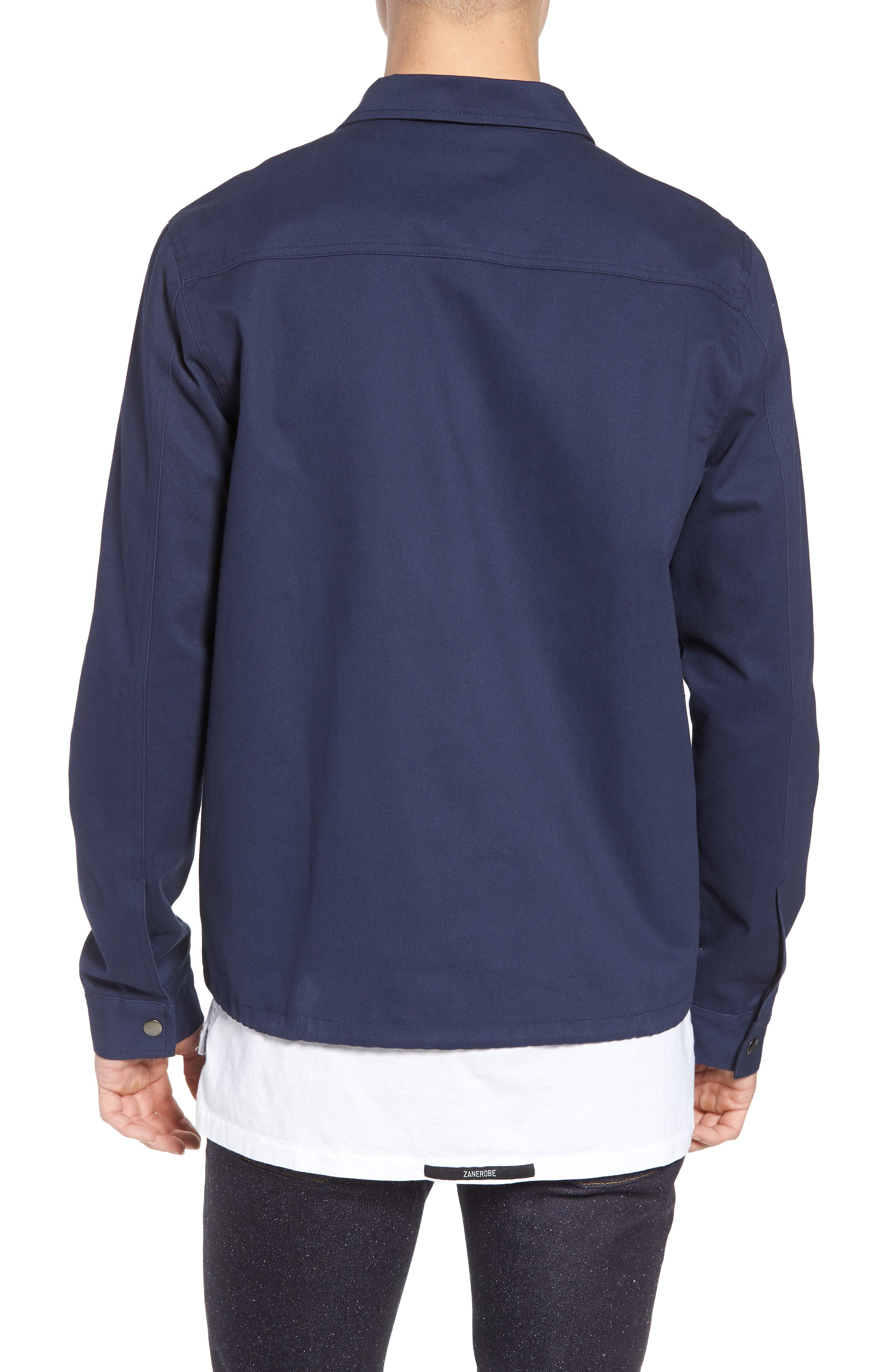 Snap Front Coach's Jacket,                             Alternate thumbnail 2, color,                             Navy Iris