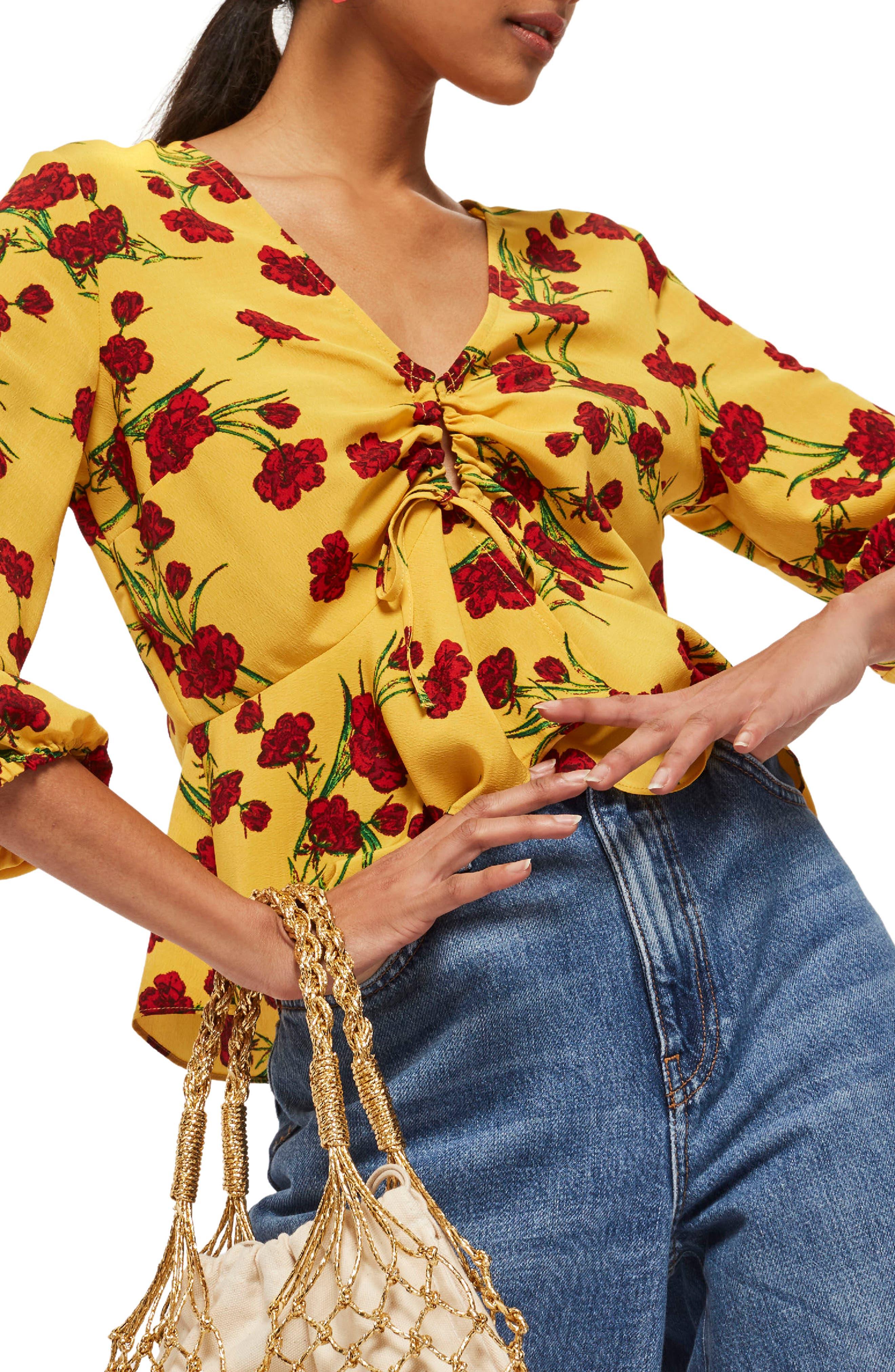 Topshop Betty Floral Print Keyhole Blouse