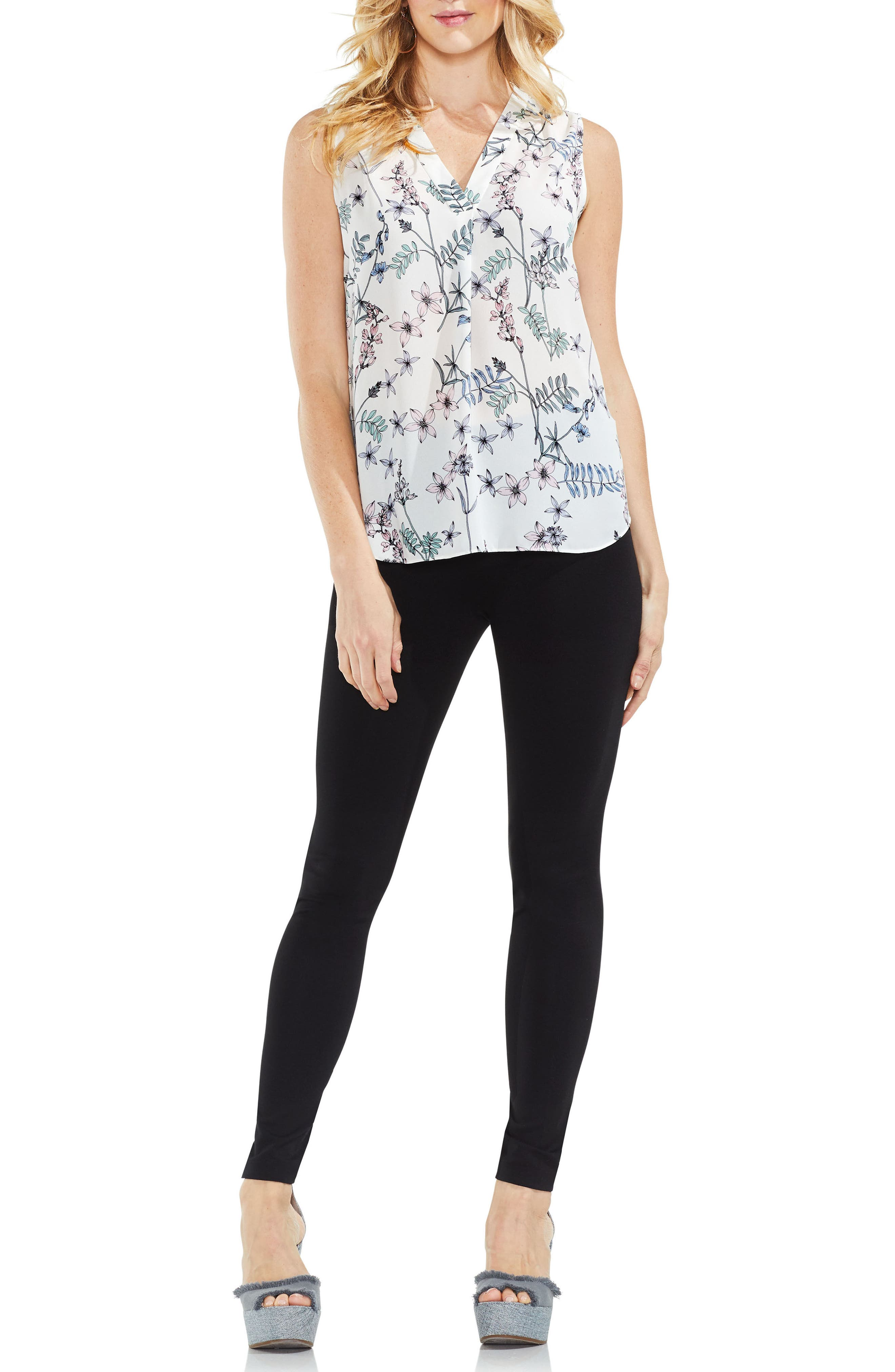 Floral Sleeveless Top,                             Alternate thumbnail 3, color,                             New Ivory