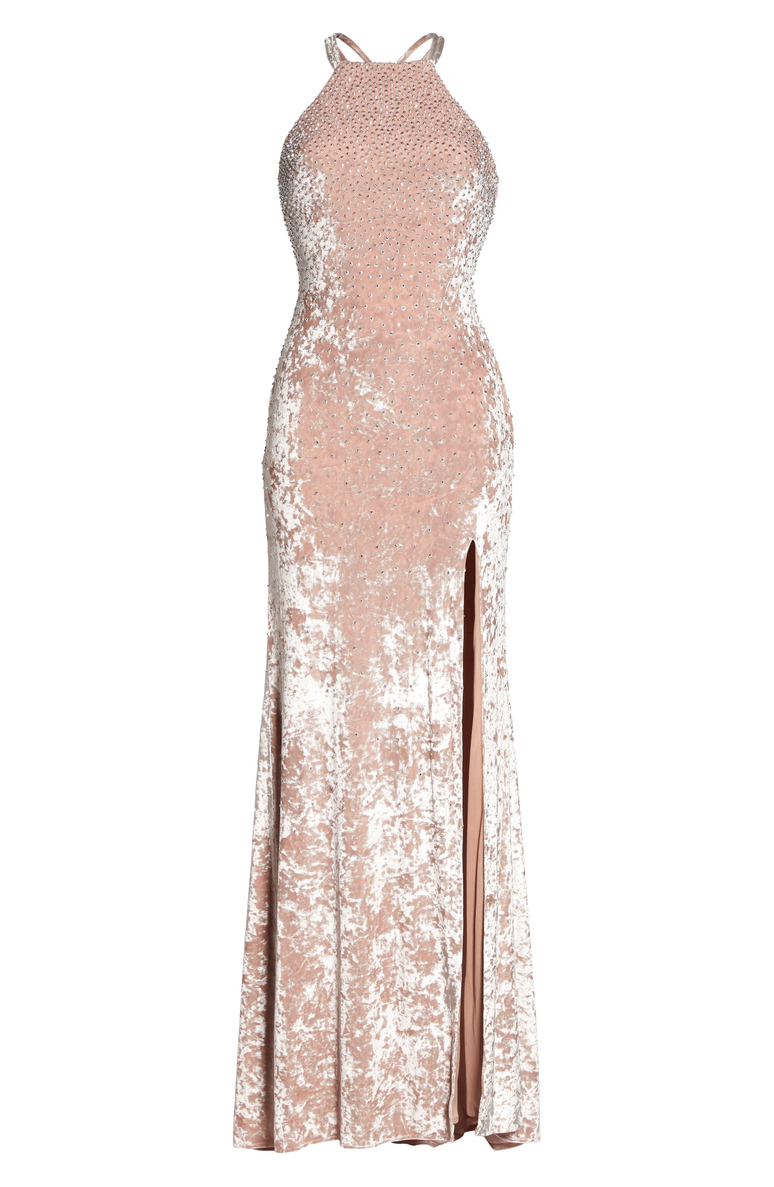 Beaded Crushed Velvet Gown,                             Alternate thumbnail 6, color,                             Blush