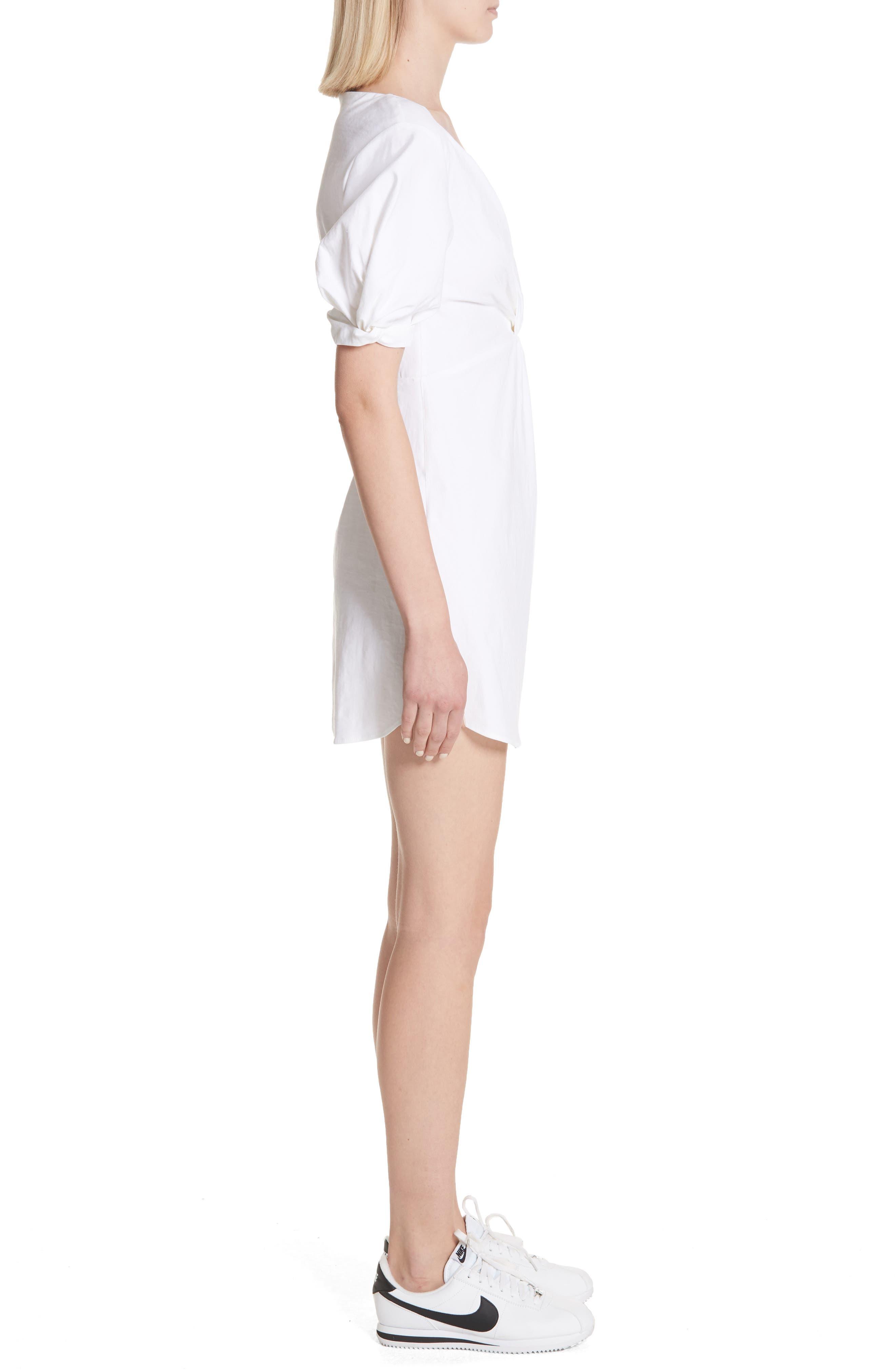 Mirren Twist Front Linen Blend Dress,                             Alternate thumbnail 3, color,                             Gesso