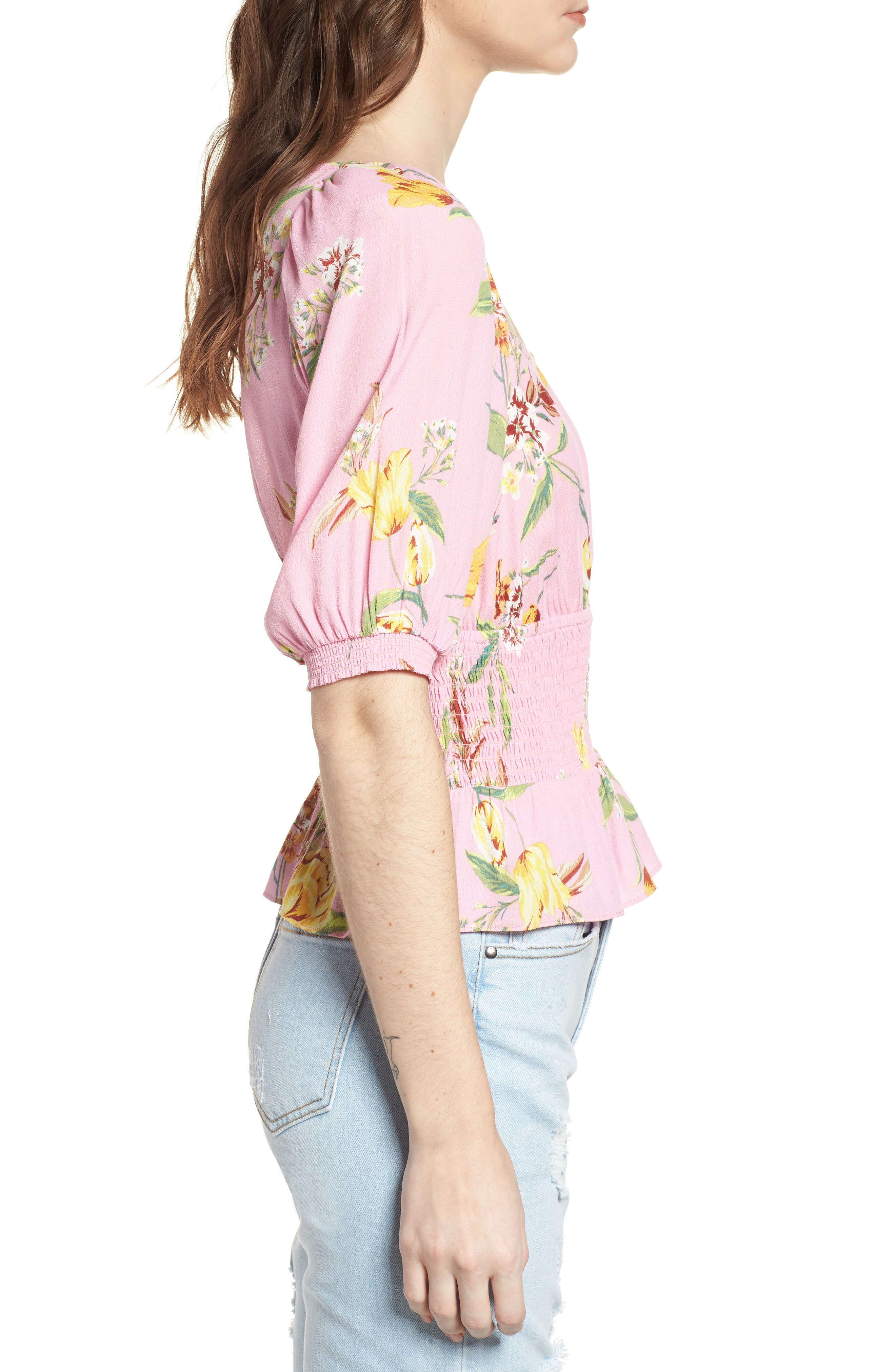 Axel Smocked Top,                             Alternate thumbnail 3, color,                             Pink Tulip