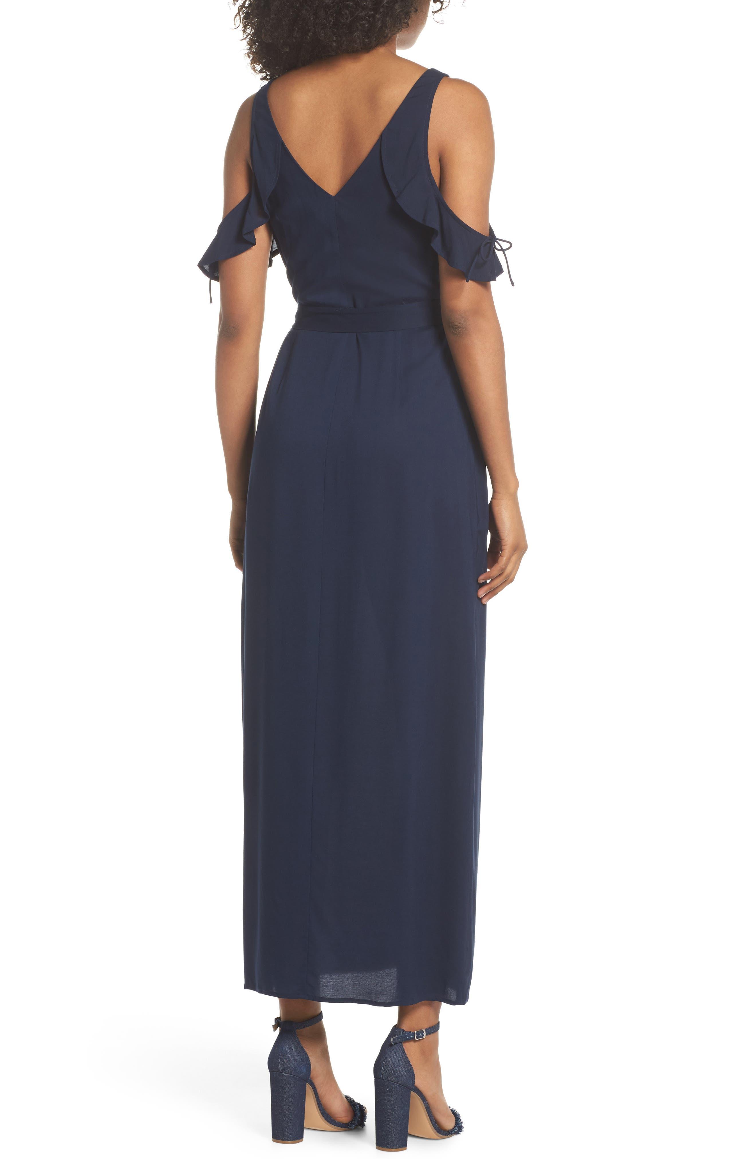 Lystra Cold Shoulder Maxi Dress,                             Alternate thumbnail 2, color,                             Dark Ink Blue