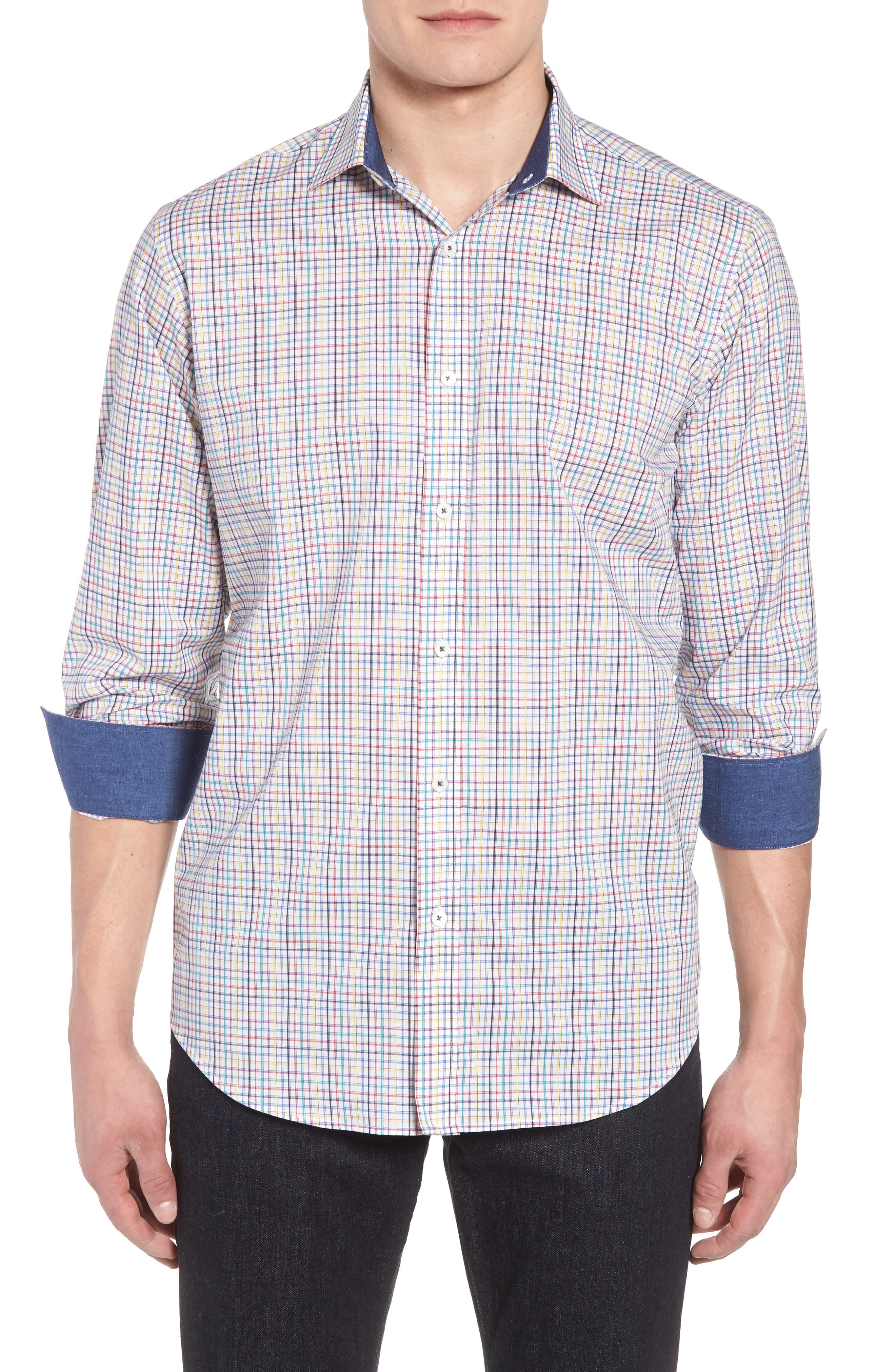 Classic Fit Woven Sport Shirt,                         Main,                         color, Candy